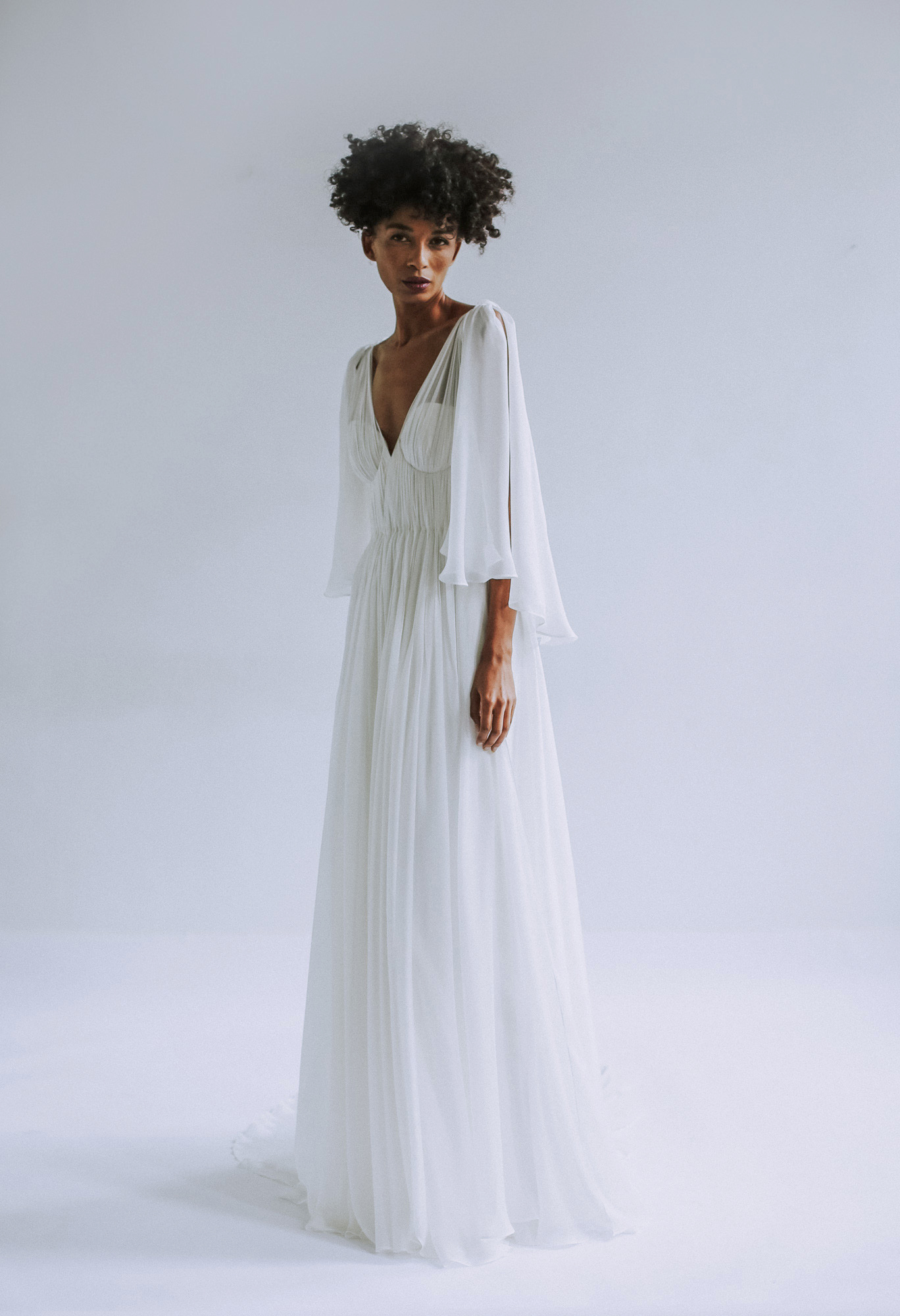 Leanne Marshall wedding dress with bell sleeves fall 2019