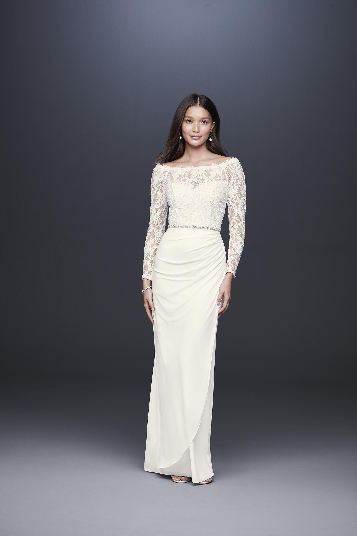 davids bridal db studio fall 2019 trumpet off the shoulder long sleeves lace beaded belt