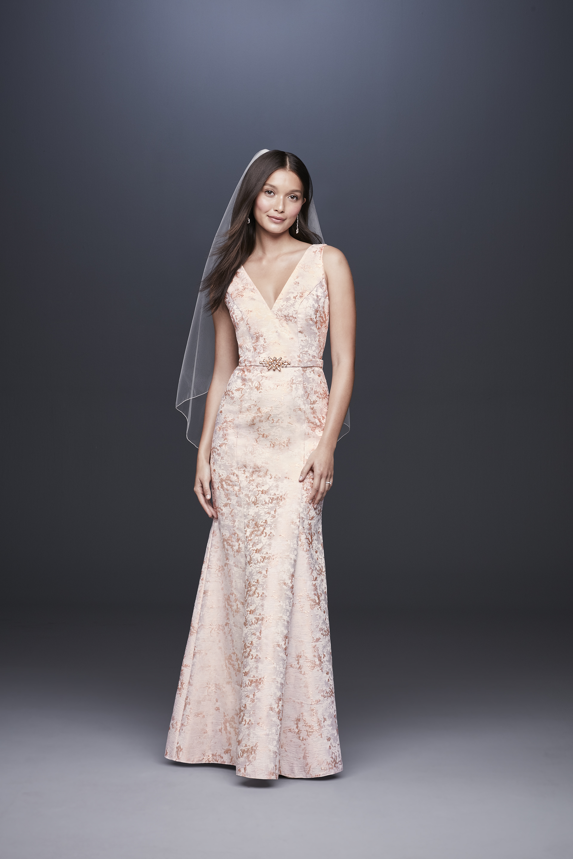 davids bridal db studio fall 2019 trumpet v neck sleeveless pink flowered with belt