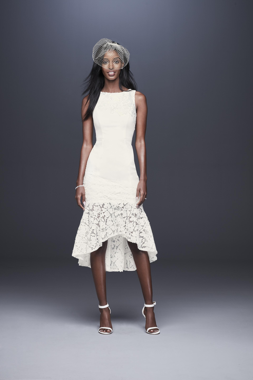 davids bridal db studio fall 2019 high low high neck sleeveless lace overlay