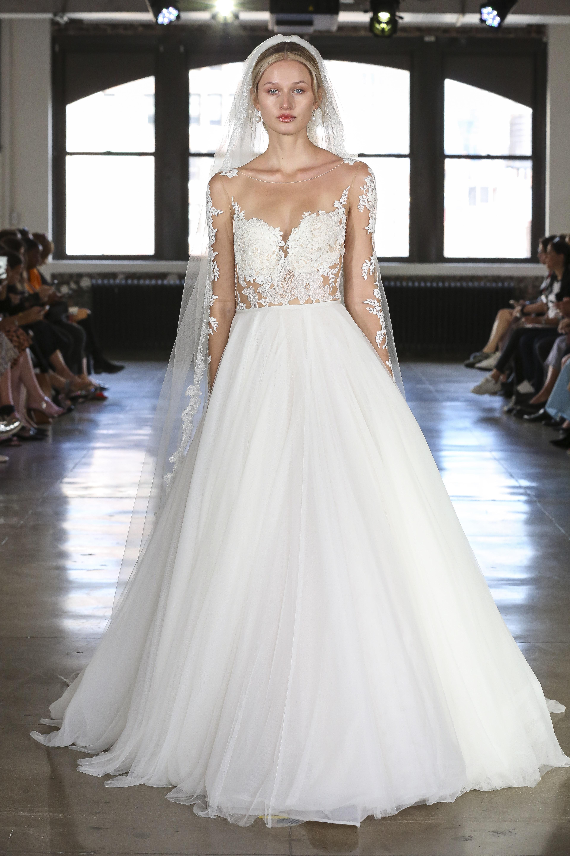watters illusion high neckline wedding dress fall 2019