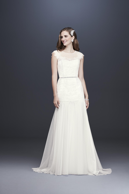 davids bridal galina fall 2019 trumpet bateau cap sleeves sheer lace overlay beaded belt