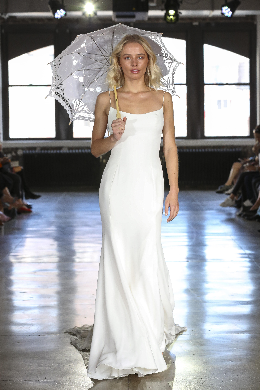 Watters satin sheath wedding dress fall 2019