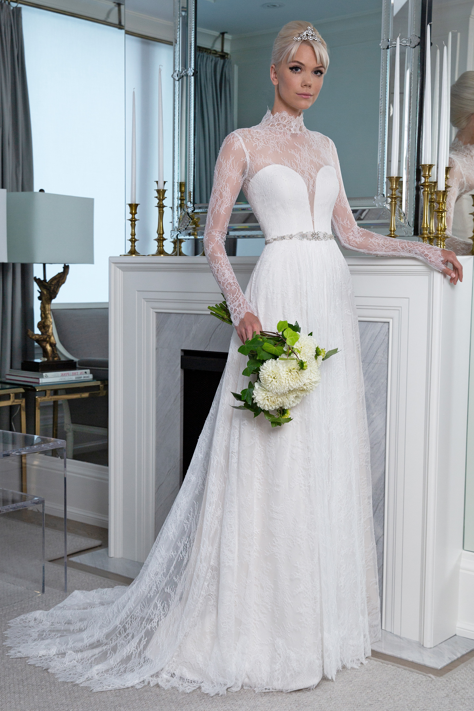 Legends Romona Keveža high neck long sleeves wedding dress fall 2019