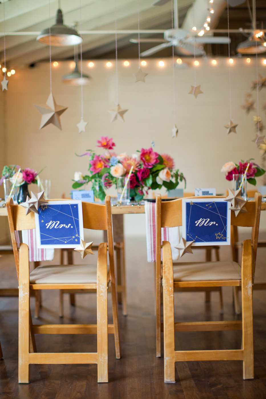 mr and mrs signs with star celestial theme
