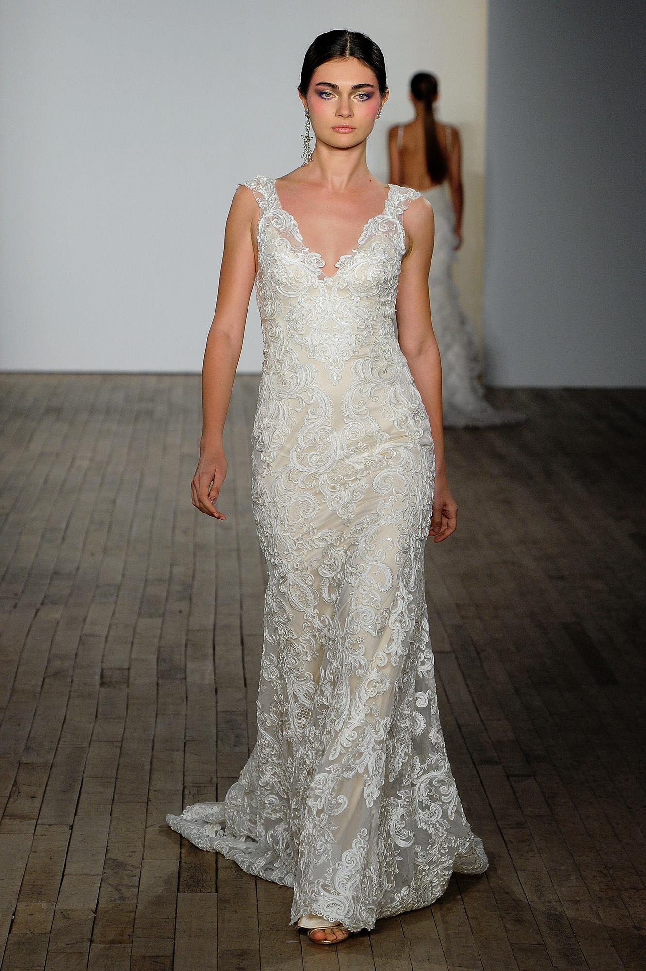lazaro fall 2019 sheath floral applique v-neck wedding dress