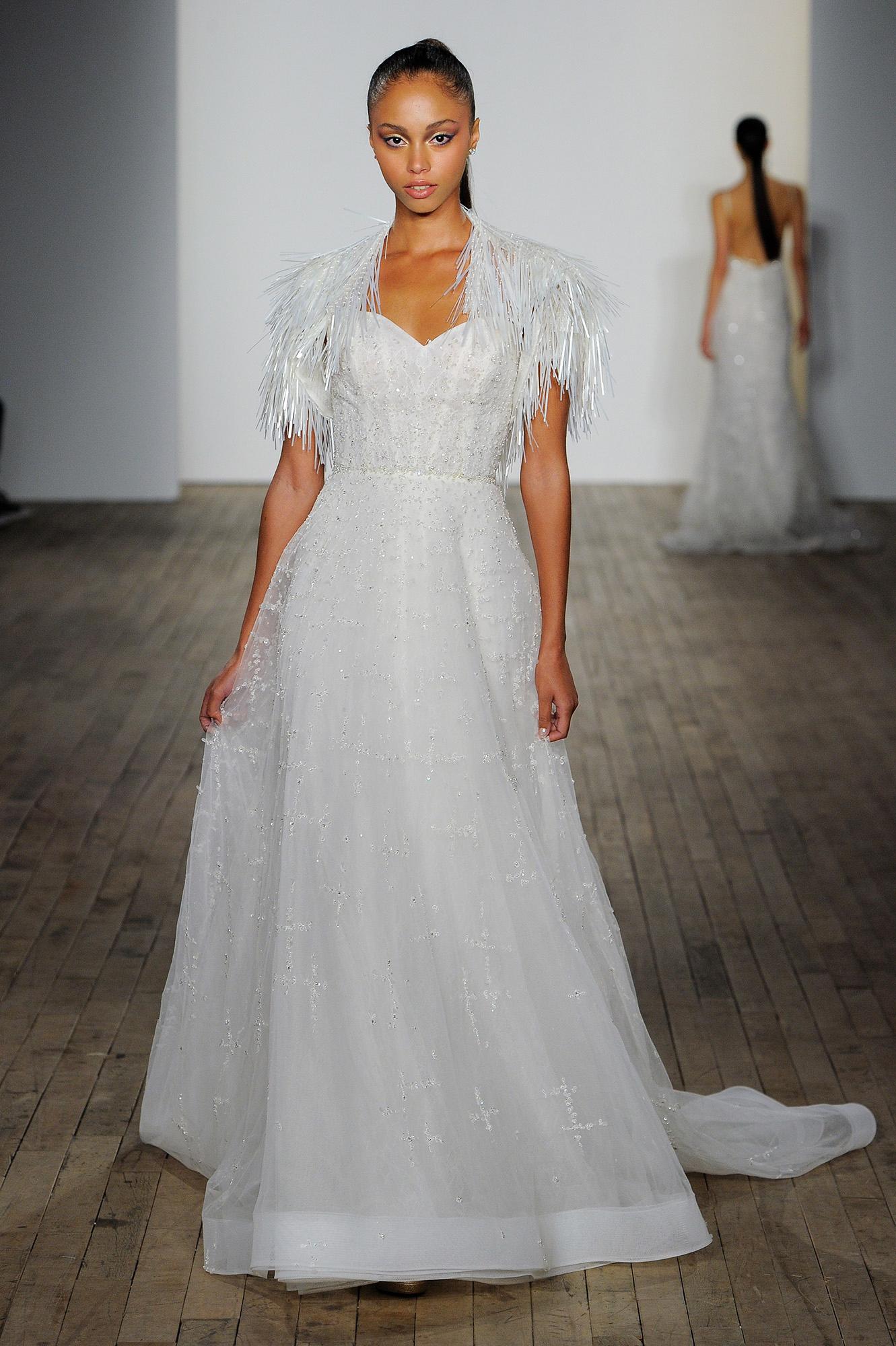 lazaro fall 2019 sheath fringe wedding dress