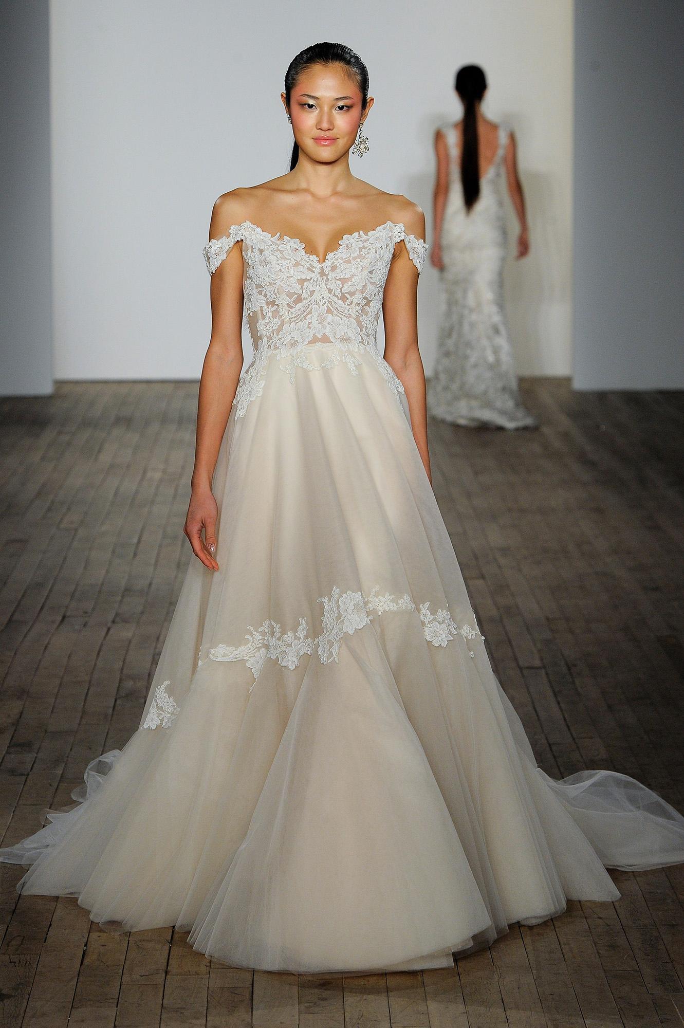 lazaro fall 2019 sheath coset over the shoulder wedding dress