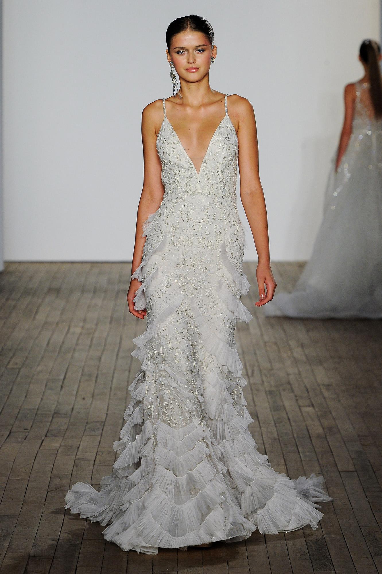 lazaro fall 2019 v-neck tier beaded wedding dress