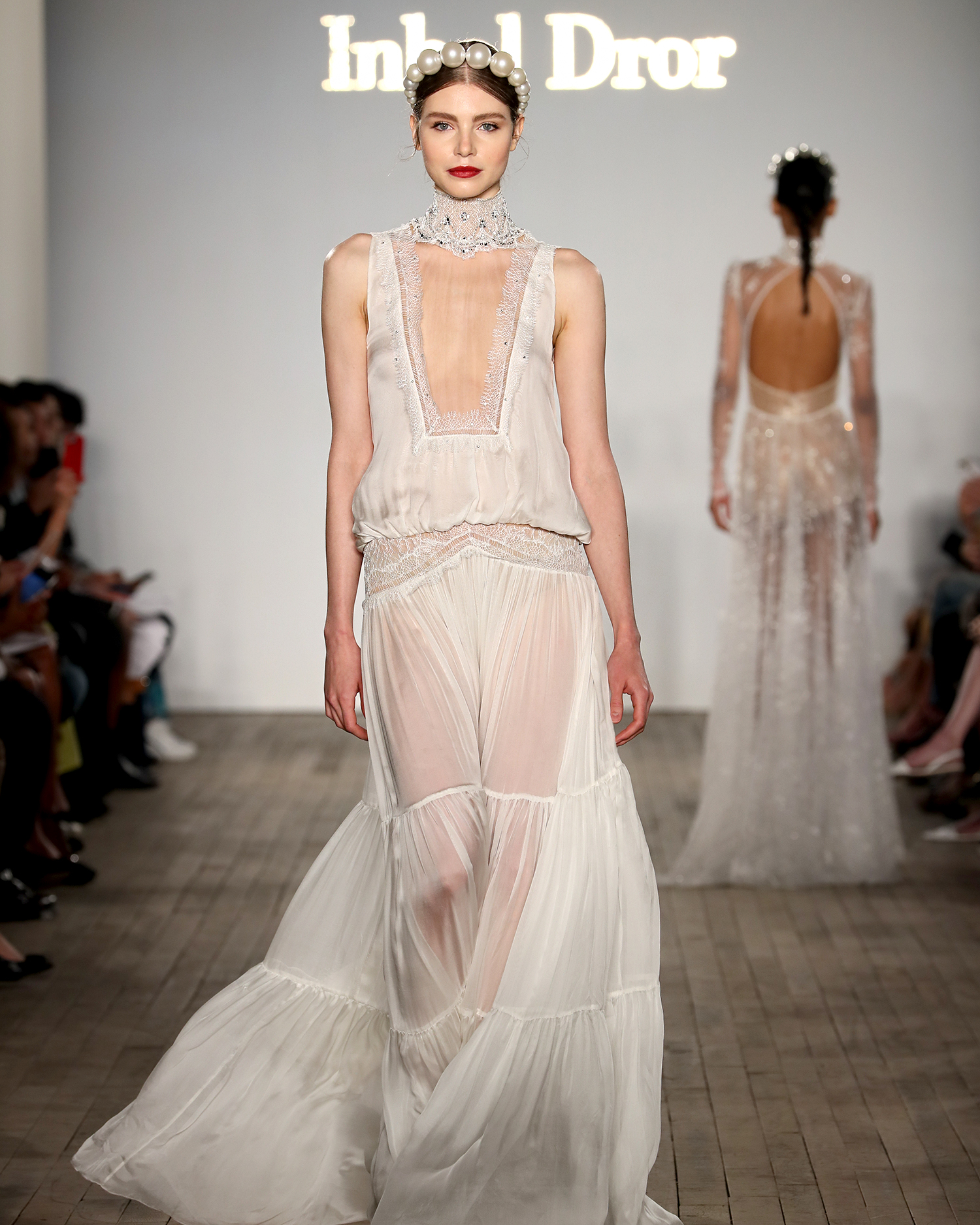 inbal dror wedding dress high illusion neck bloussant bodice