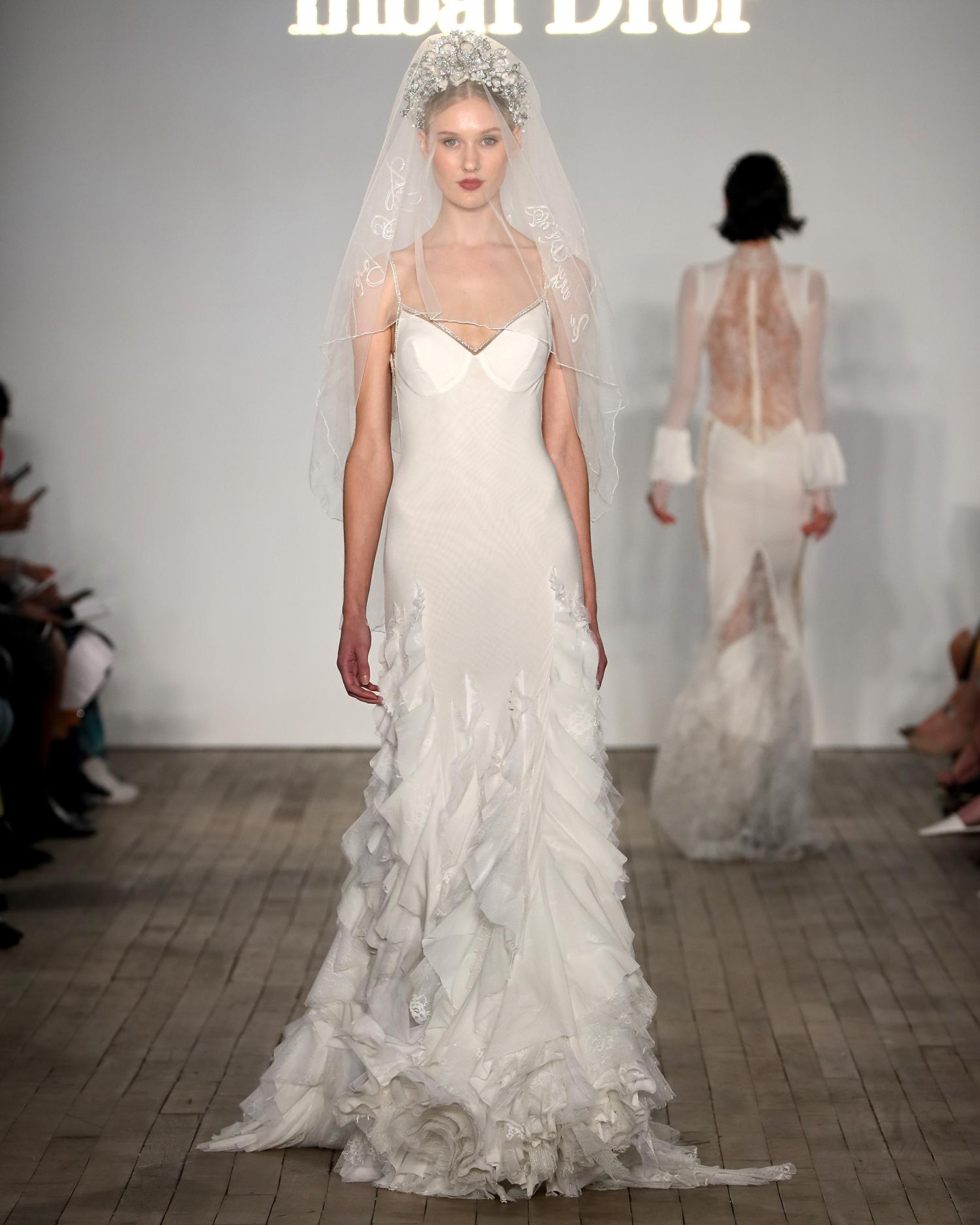 inbal dror wedding dress spaghetti-strap sheath with vertical ruffles