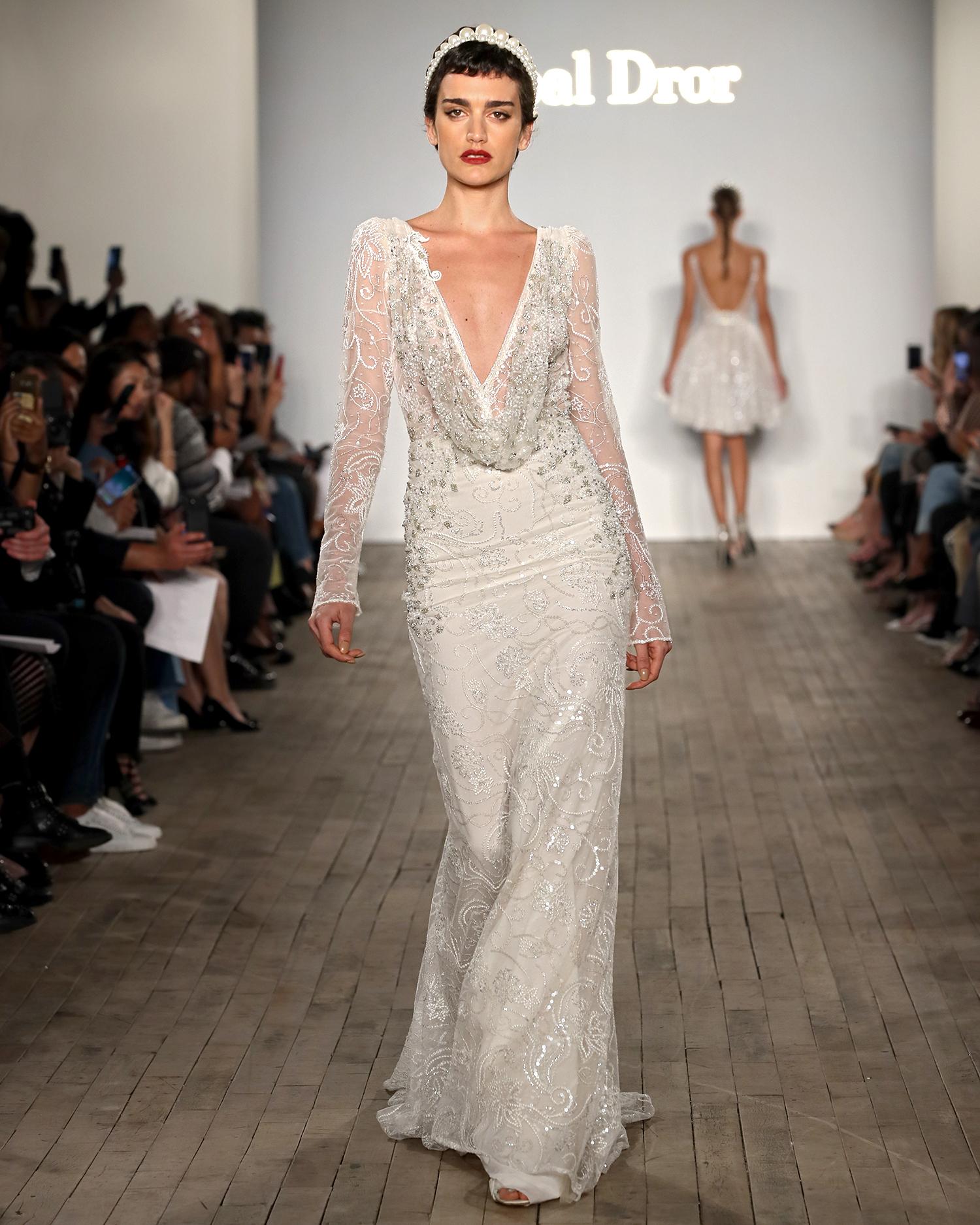 inbal dror wedding dress long-sleeved sheath with draped neck