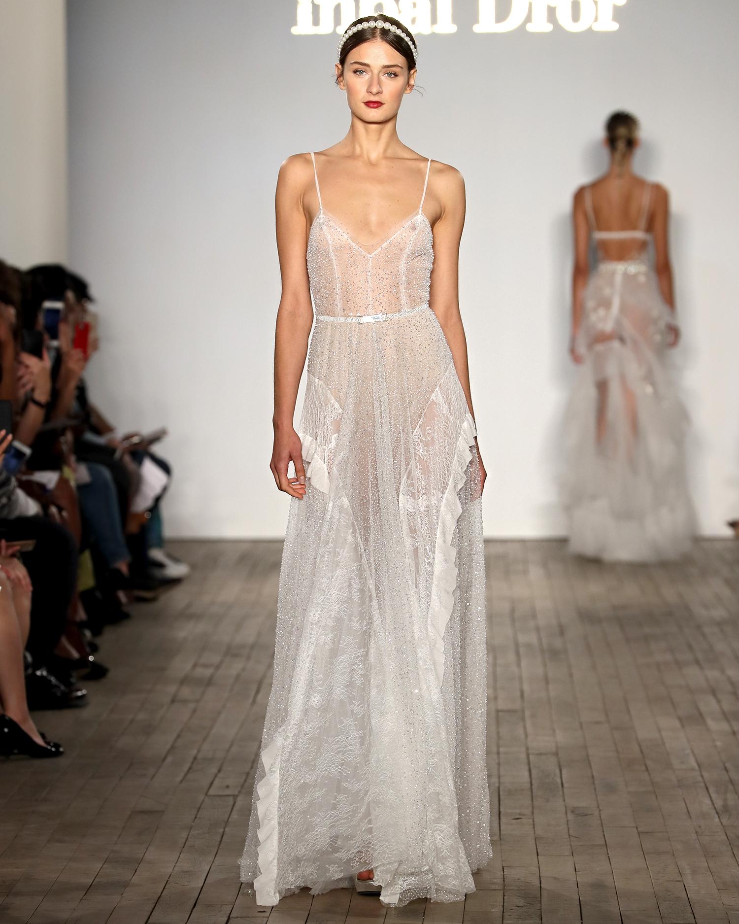 inbal dror wedding dress beaded spaghetti strap sheer sheath