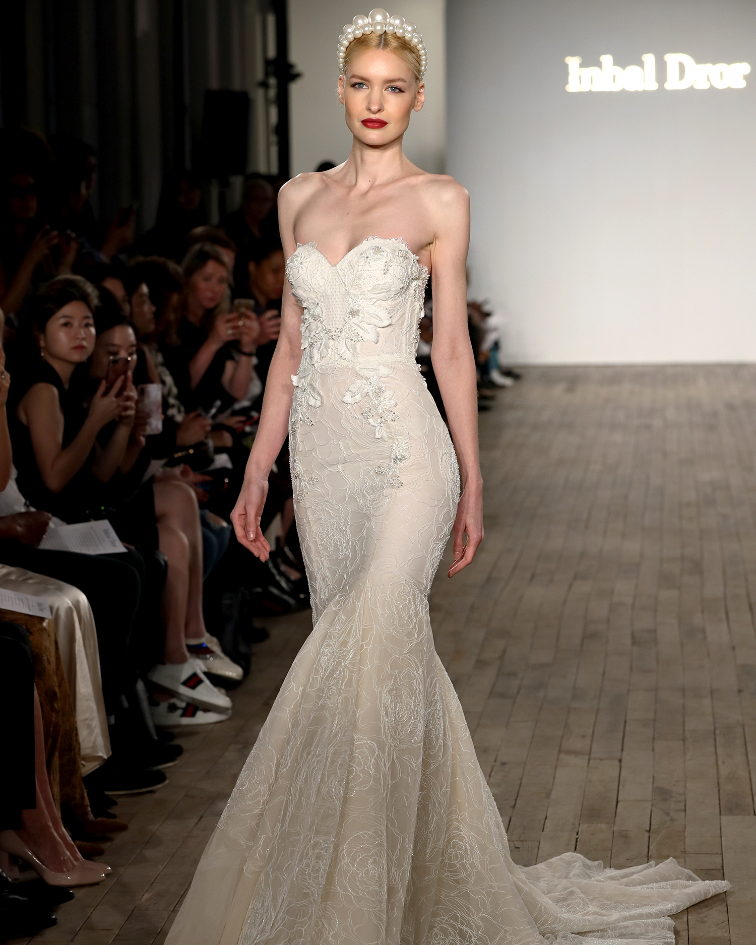 inbal dror wedding dress structured mermaid with embroidered bodice