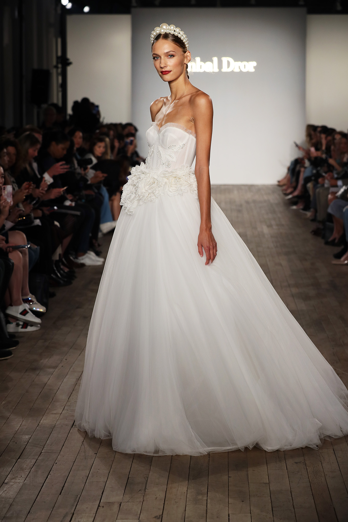 inbal dror wedding dress ball gown with applique flowers at waist