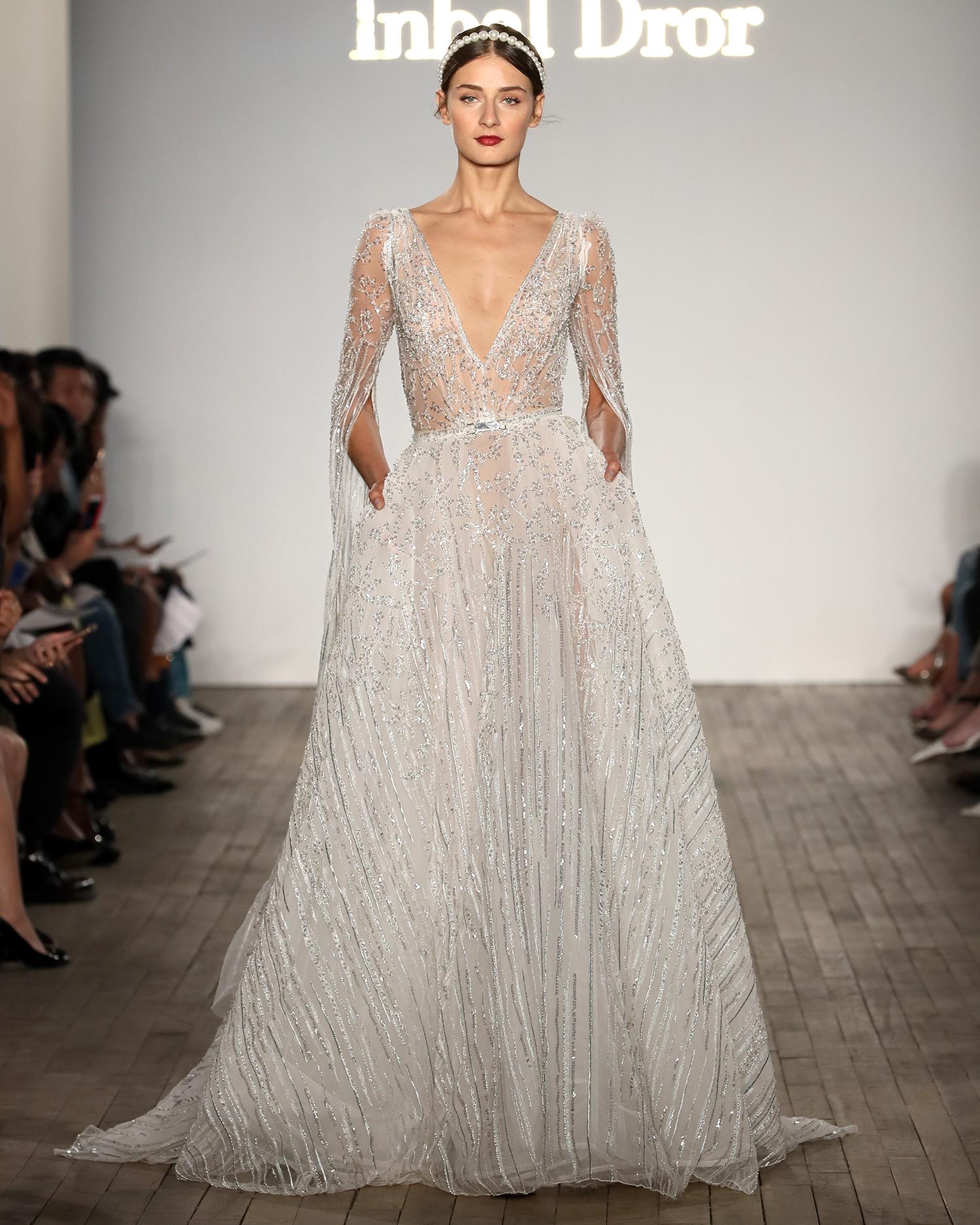 inbal dror wedding dress sheer v-neck with vertical beading