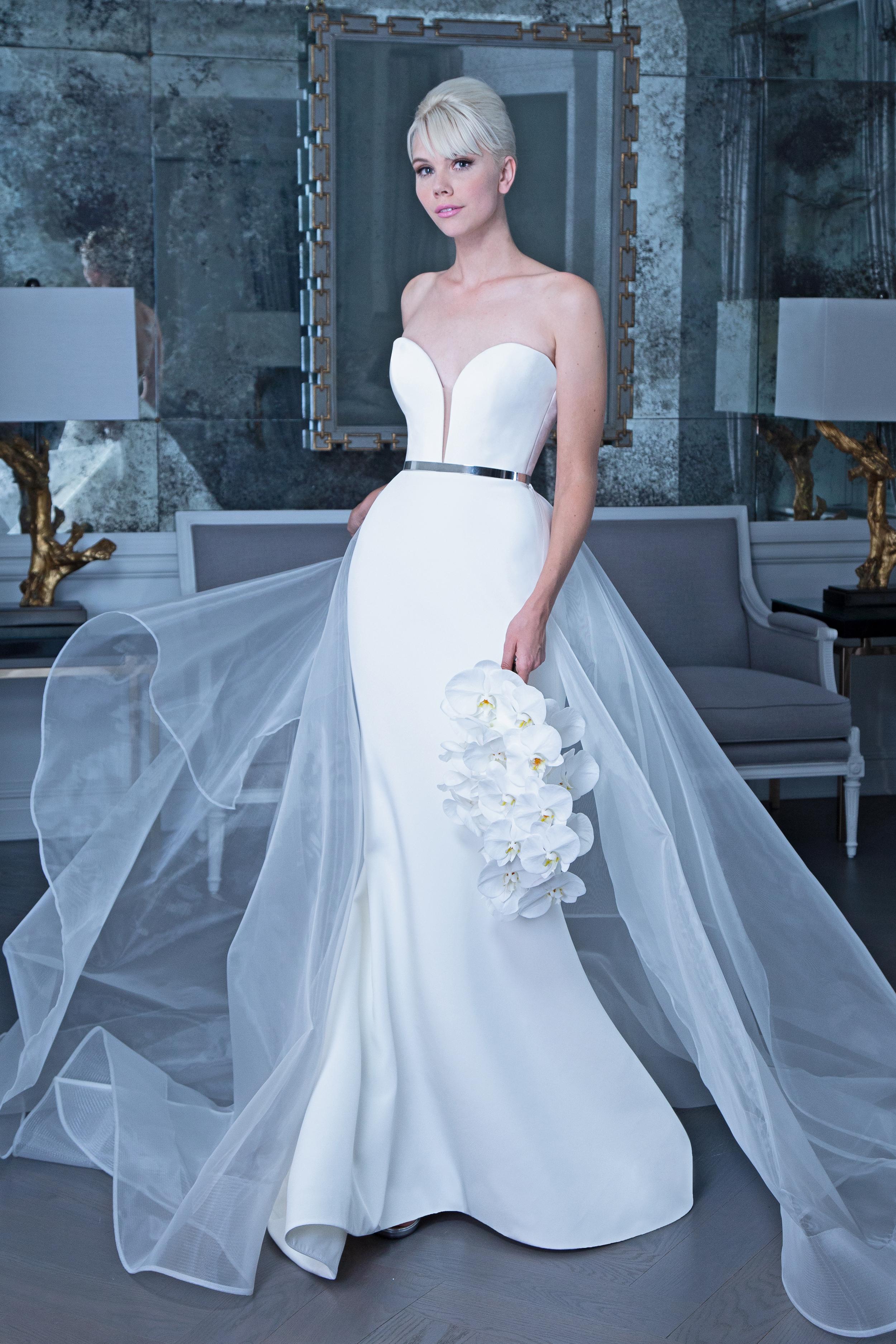 Romona satin wedding dress with tulle fall 2019