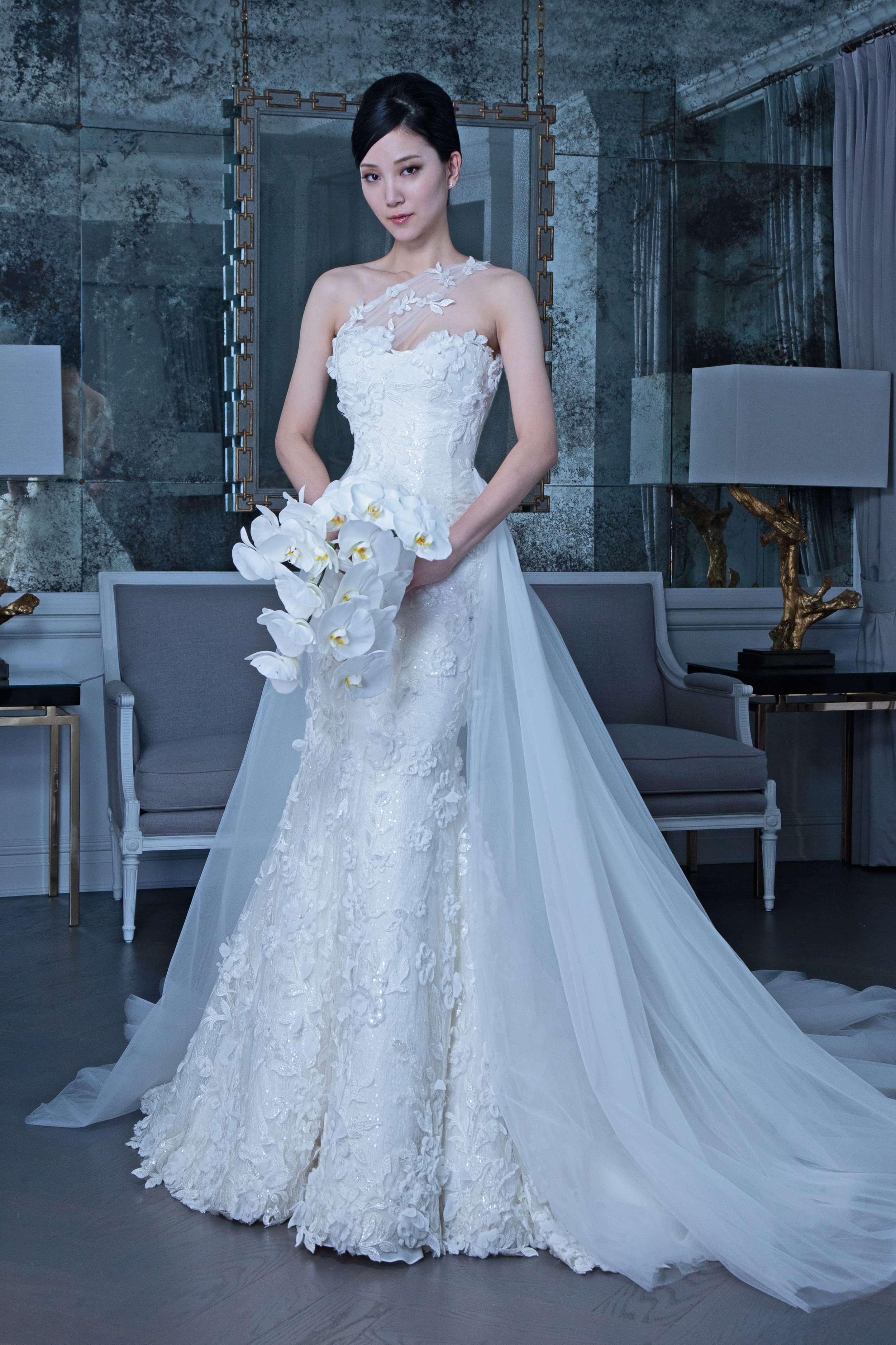 Romona strapless wedding dress with tulle train fall 2019