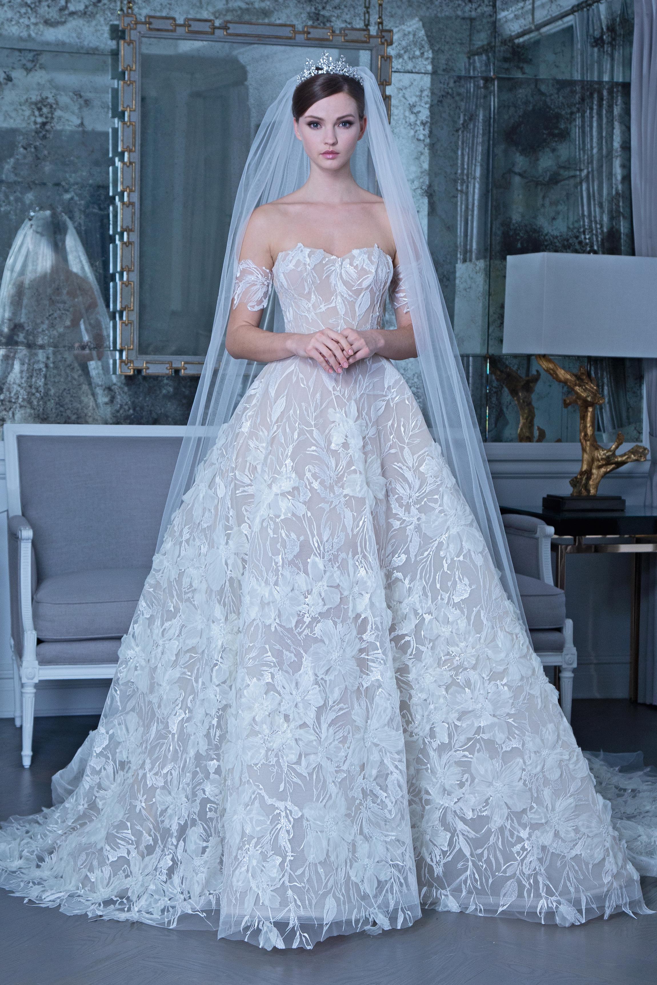 Romona off the shoulder floral applique wedding dress fall 2019