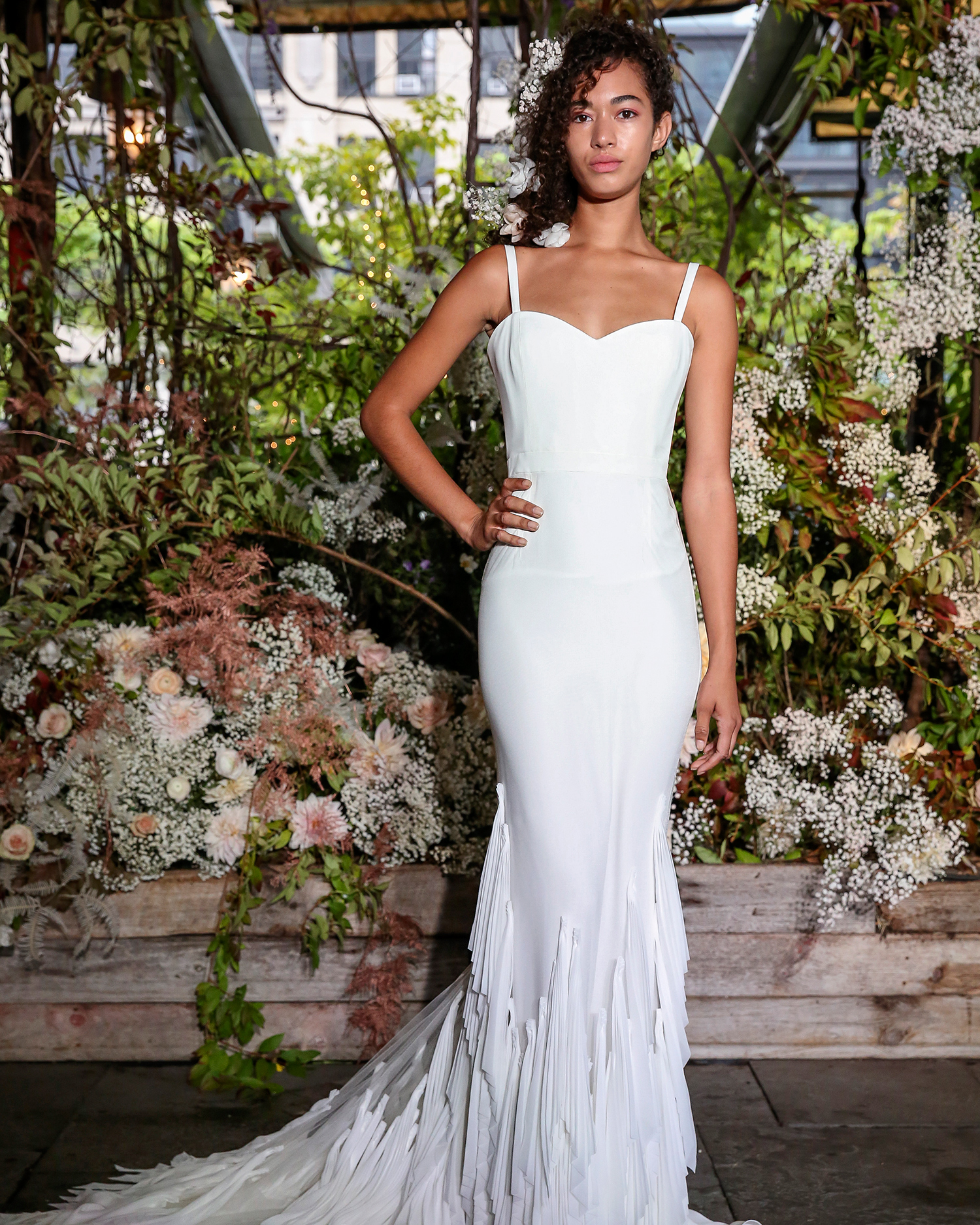 alexandra grecco wedding dress sweetheart fringed mermaid