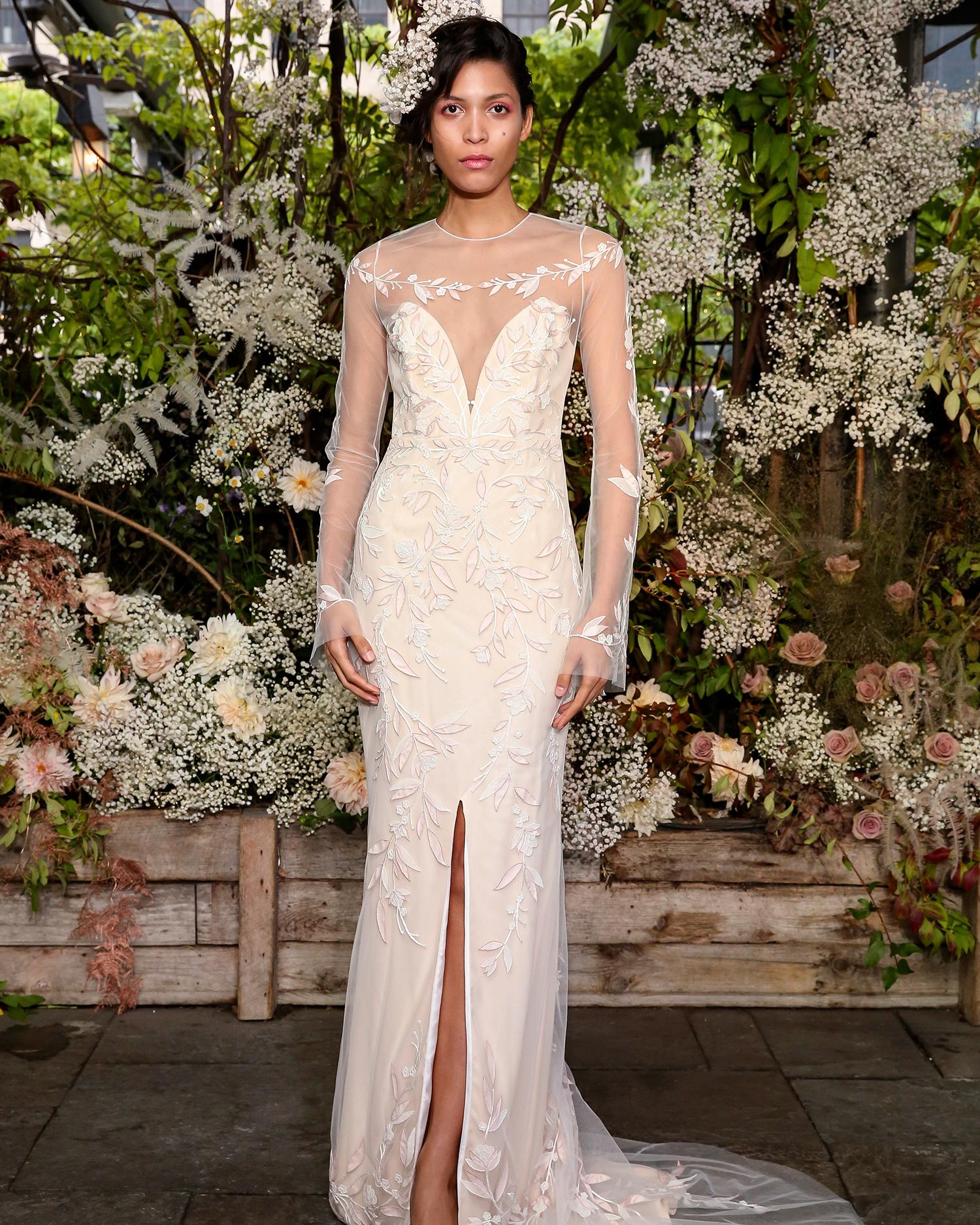 alexandra grecco wedding dress sheer high neck long sleeves