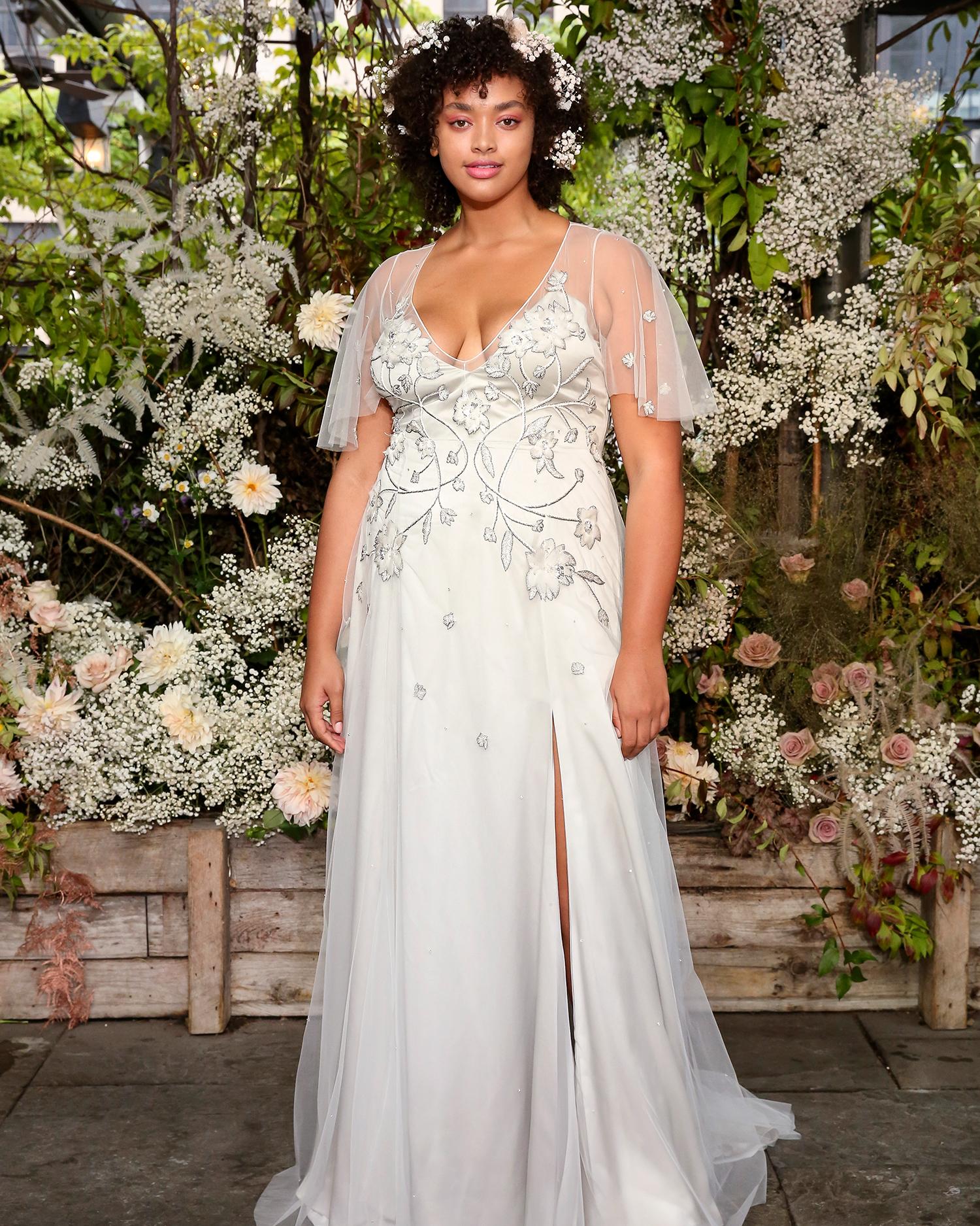 alexandra grecco wedding dress embroidered sheer flutter sleeves