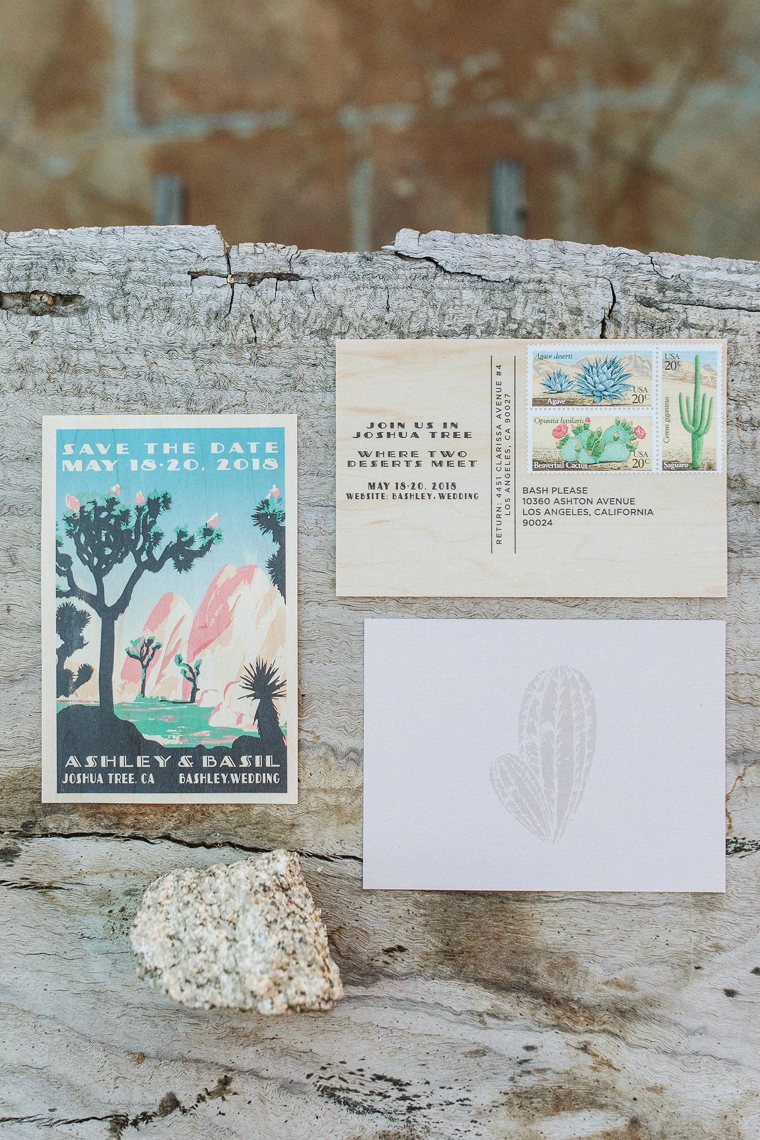 ashley basil wedding save the date postcard