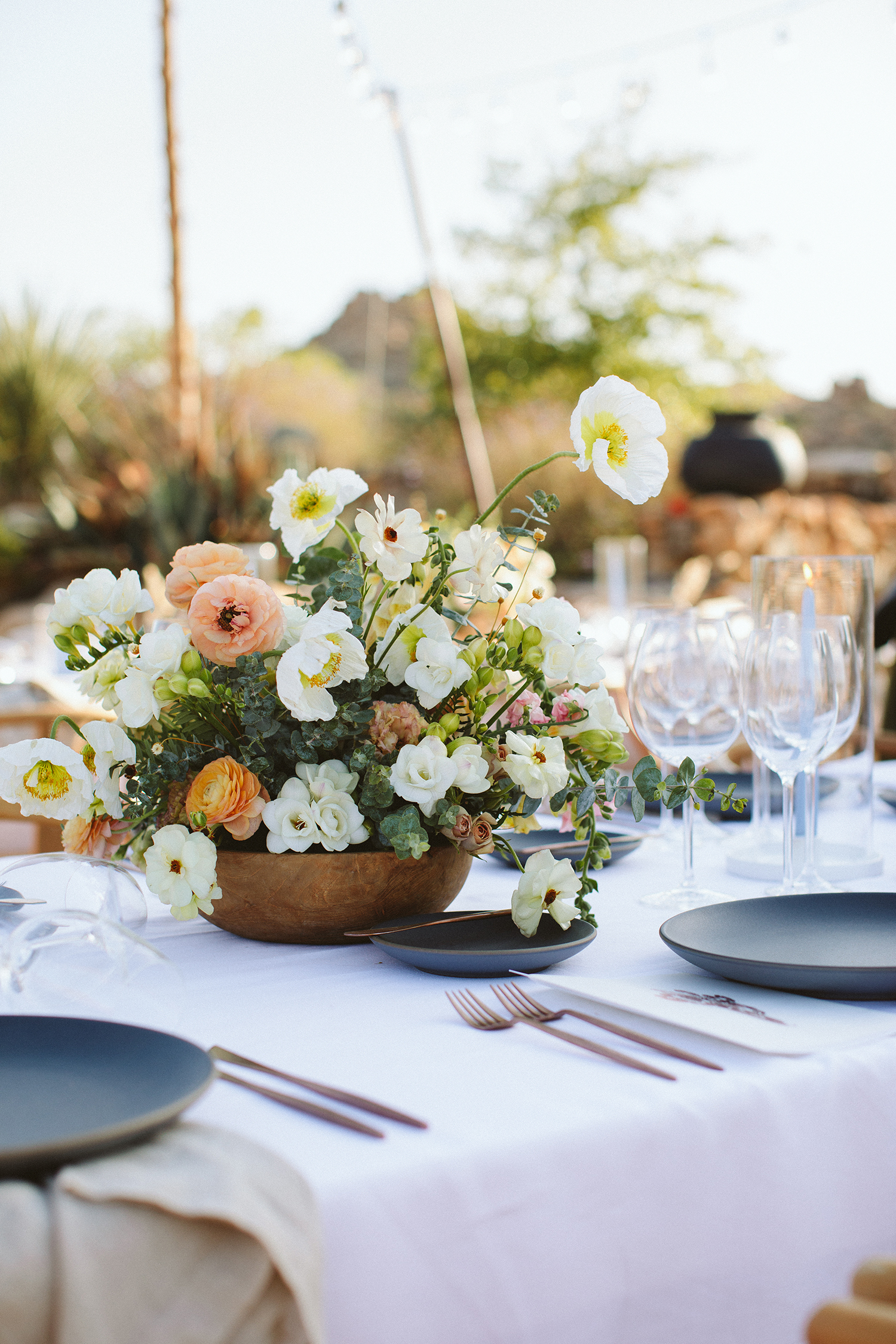 ashley basil wedding floral centerpiece on table