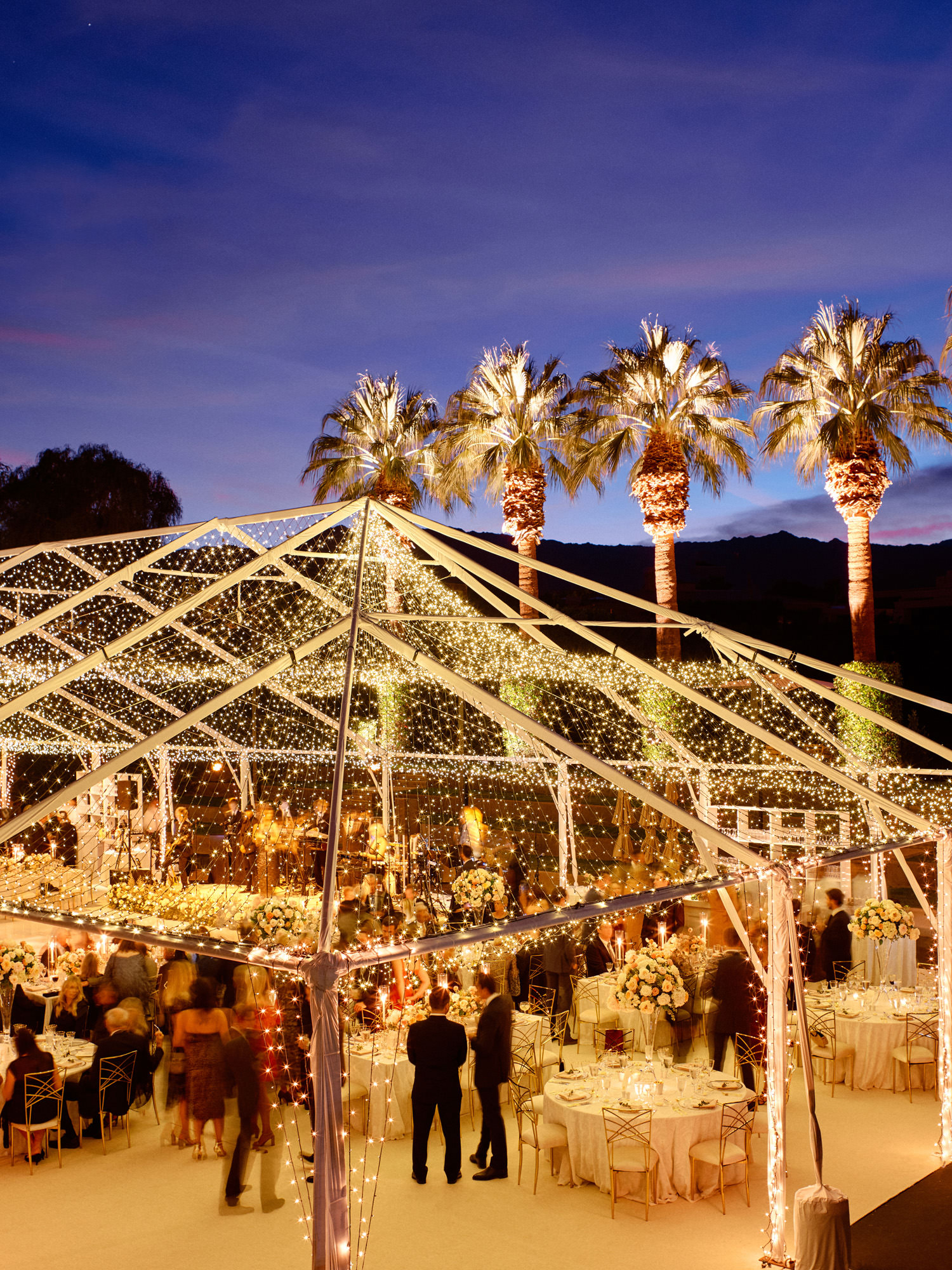 reception tent with twinkle lights