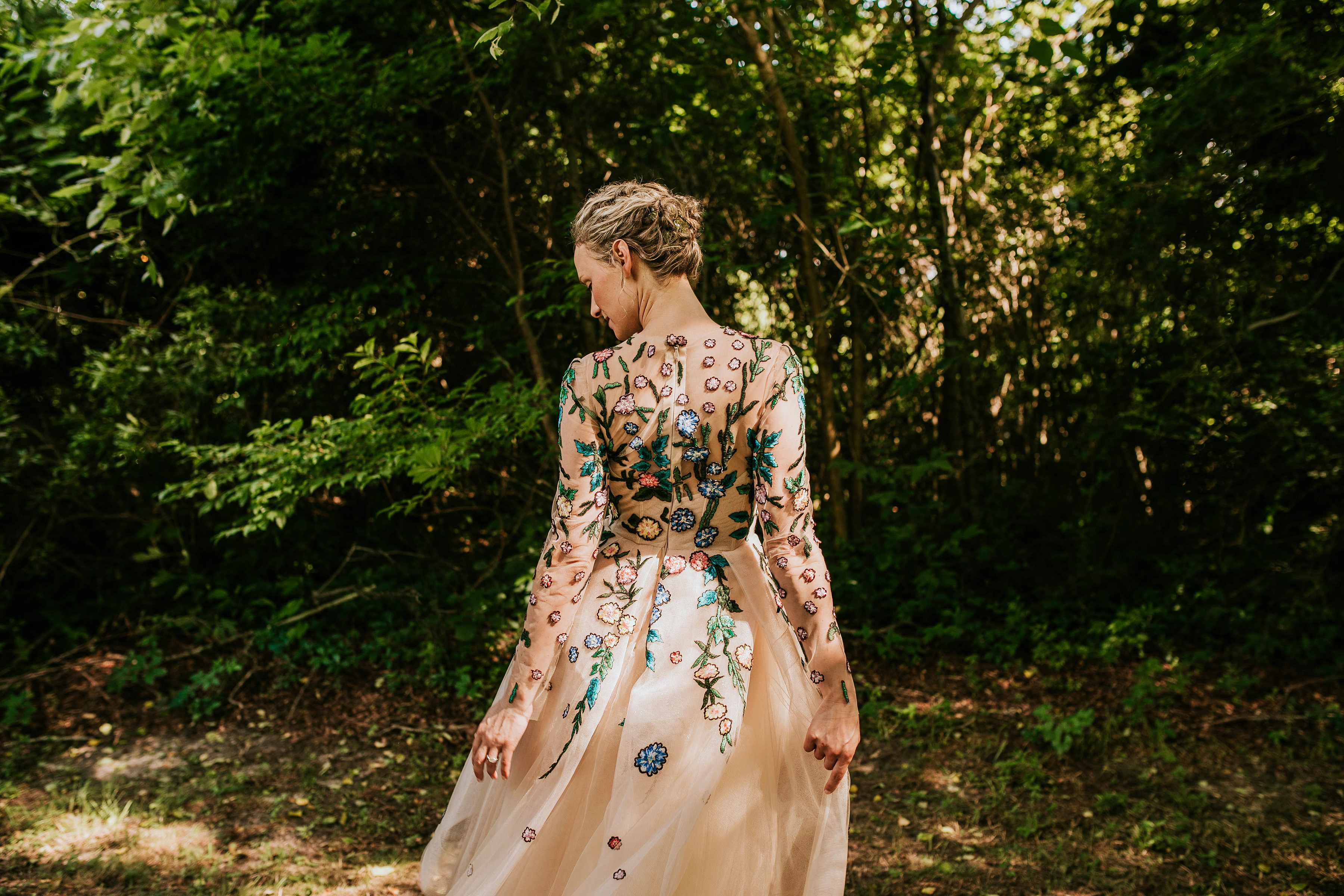 leah michael wedding bride floral long sleeves dress