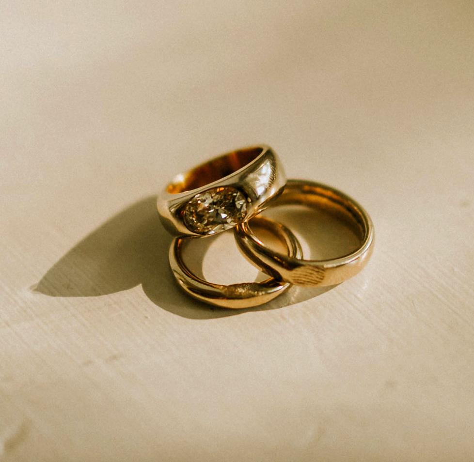 leah michael wedding gold rings