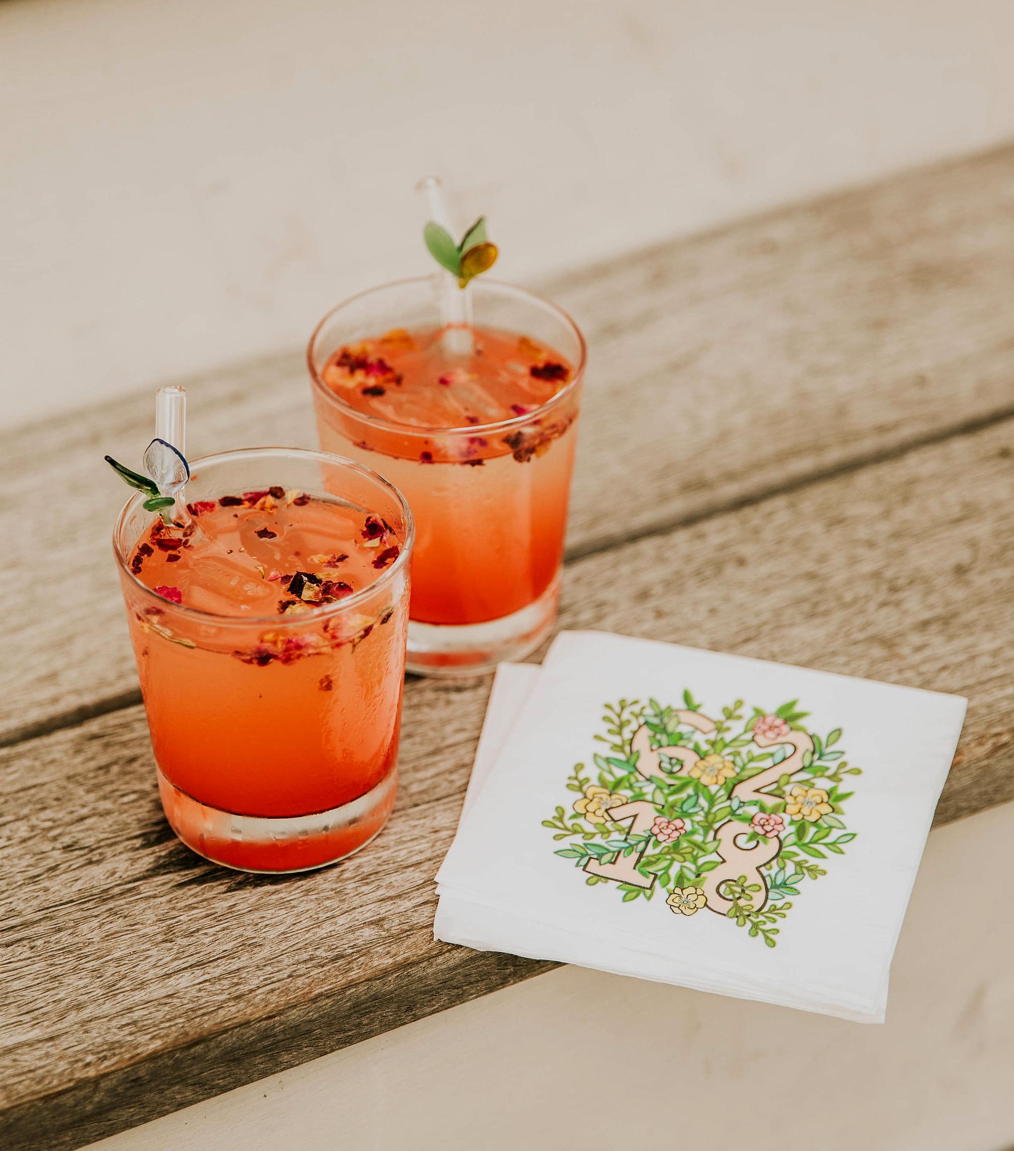 leah michael wedding drinks stirrers napkin