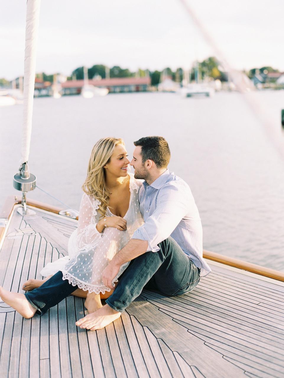 couple on dock engagement photo