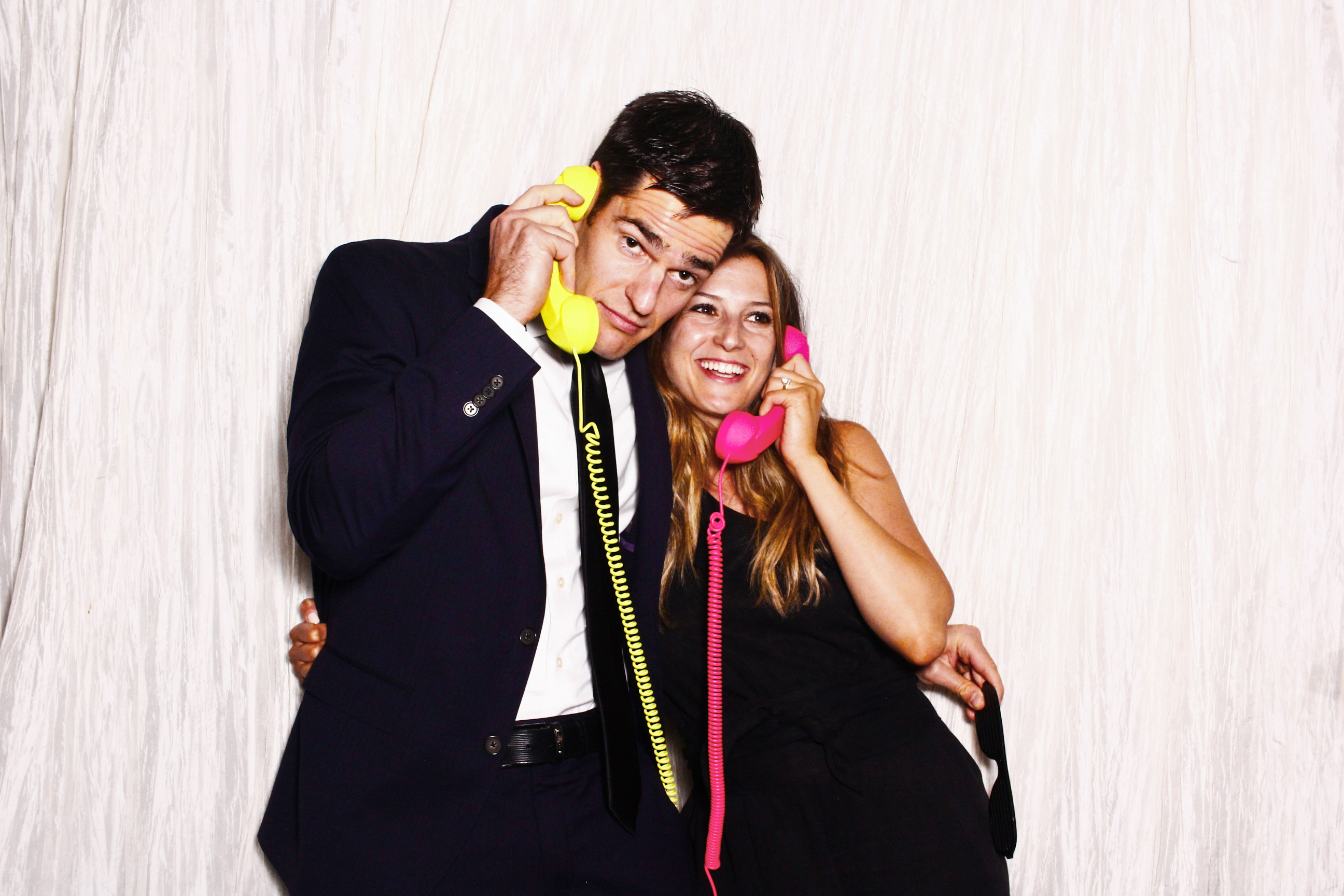 photo booth props bright colored telephones