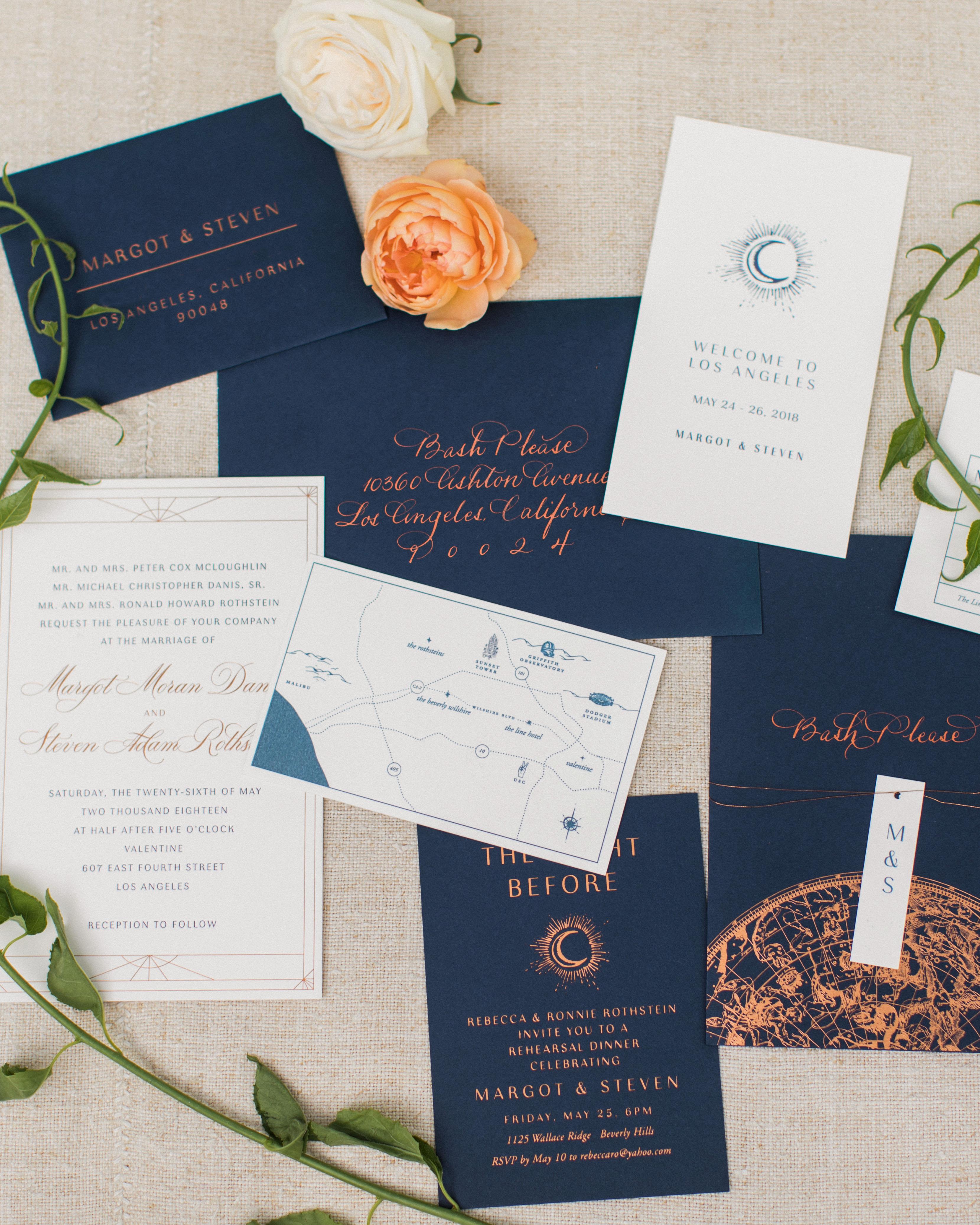 wedding invitation set with ocean inspired details