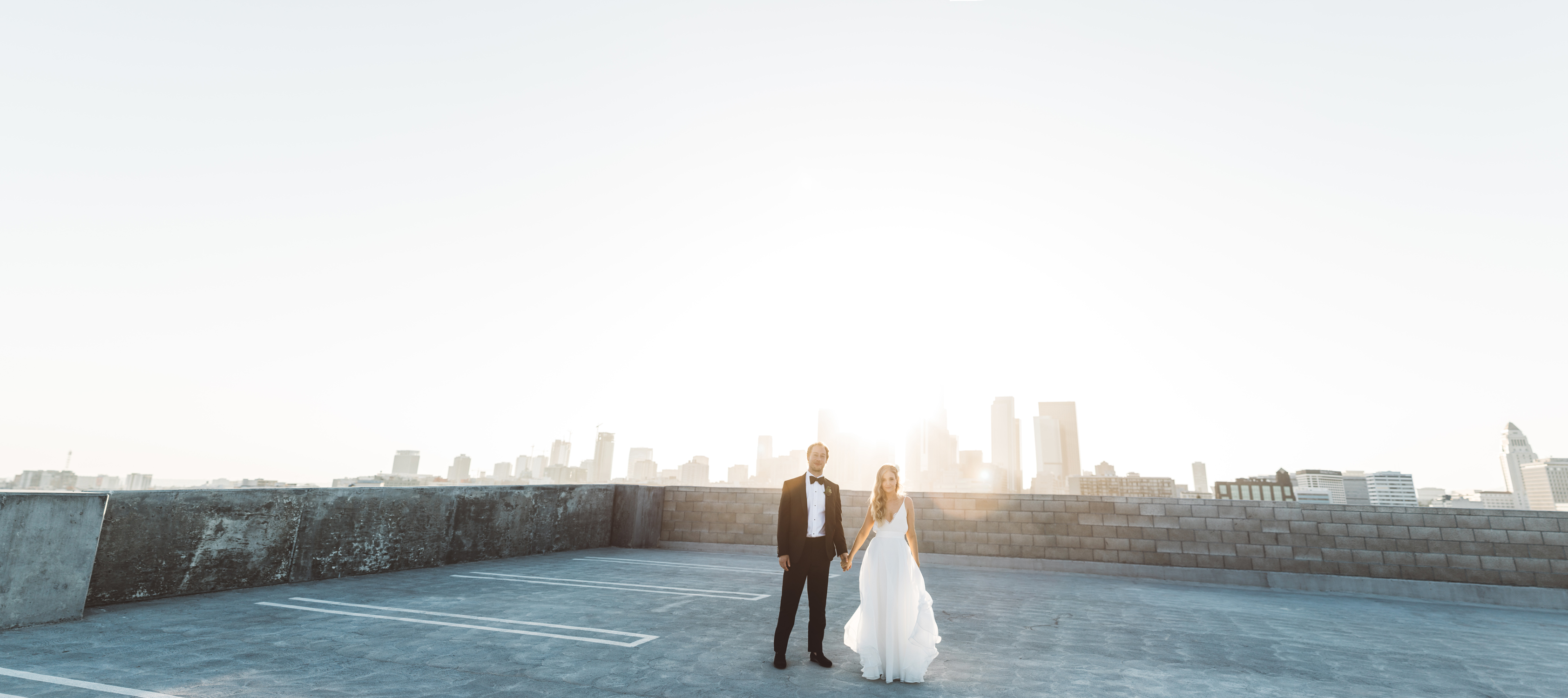 kaily matt wedding los angeles couple on roof of parking garage