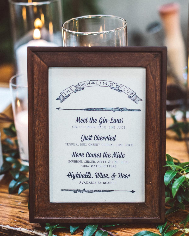 kaily matt wedding los angeles drink menu