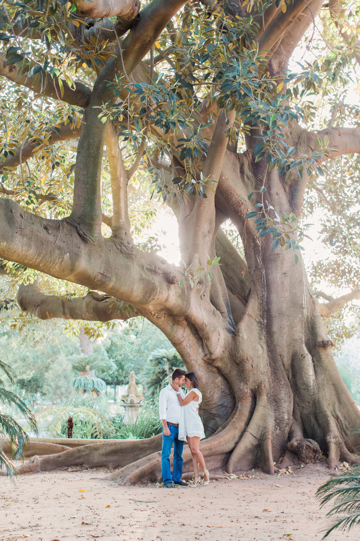 destination engagement couple botanical garden large tree