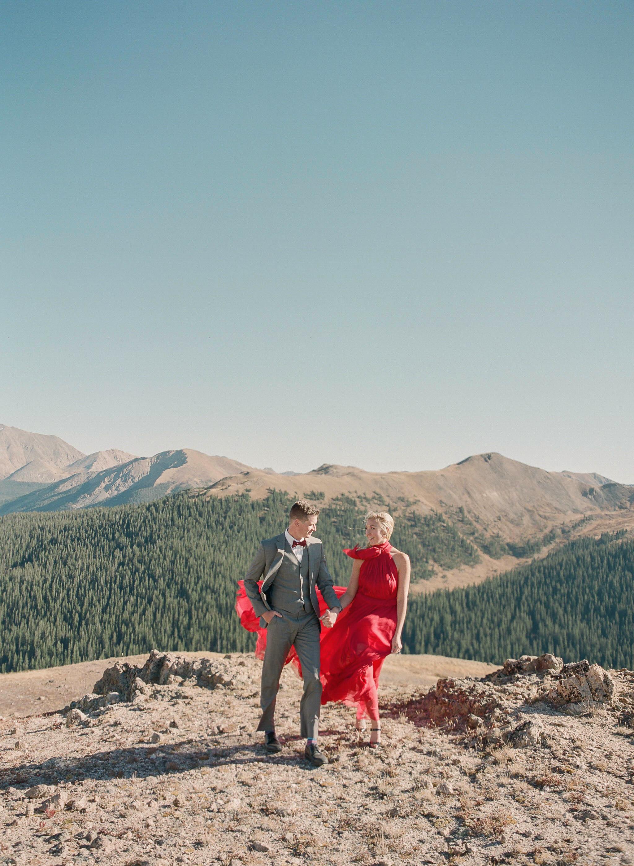 destination engagement couple mountain hike sunday attire