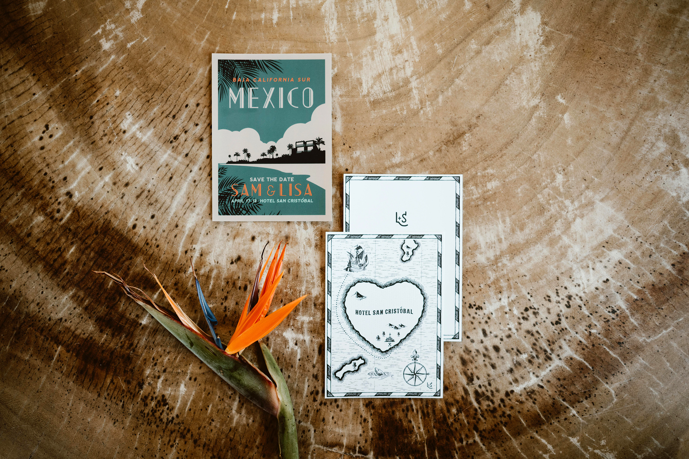 lisa sam mexico wedding save the date