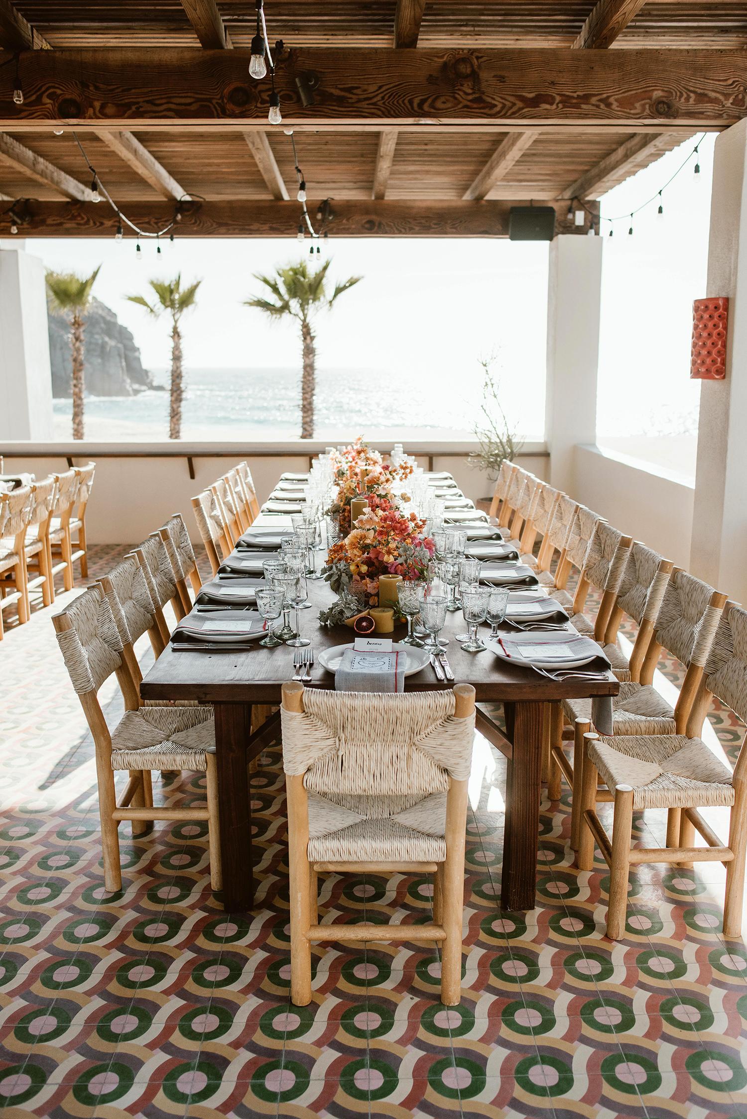 lisa sam mexico wedding reception table