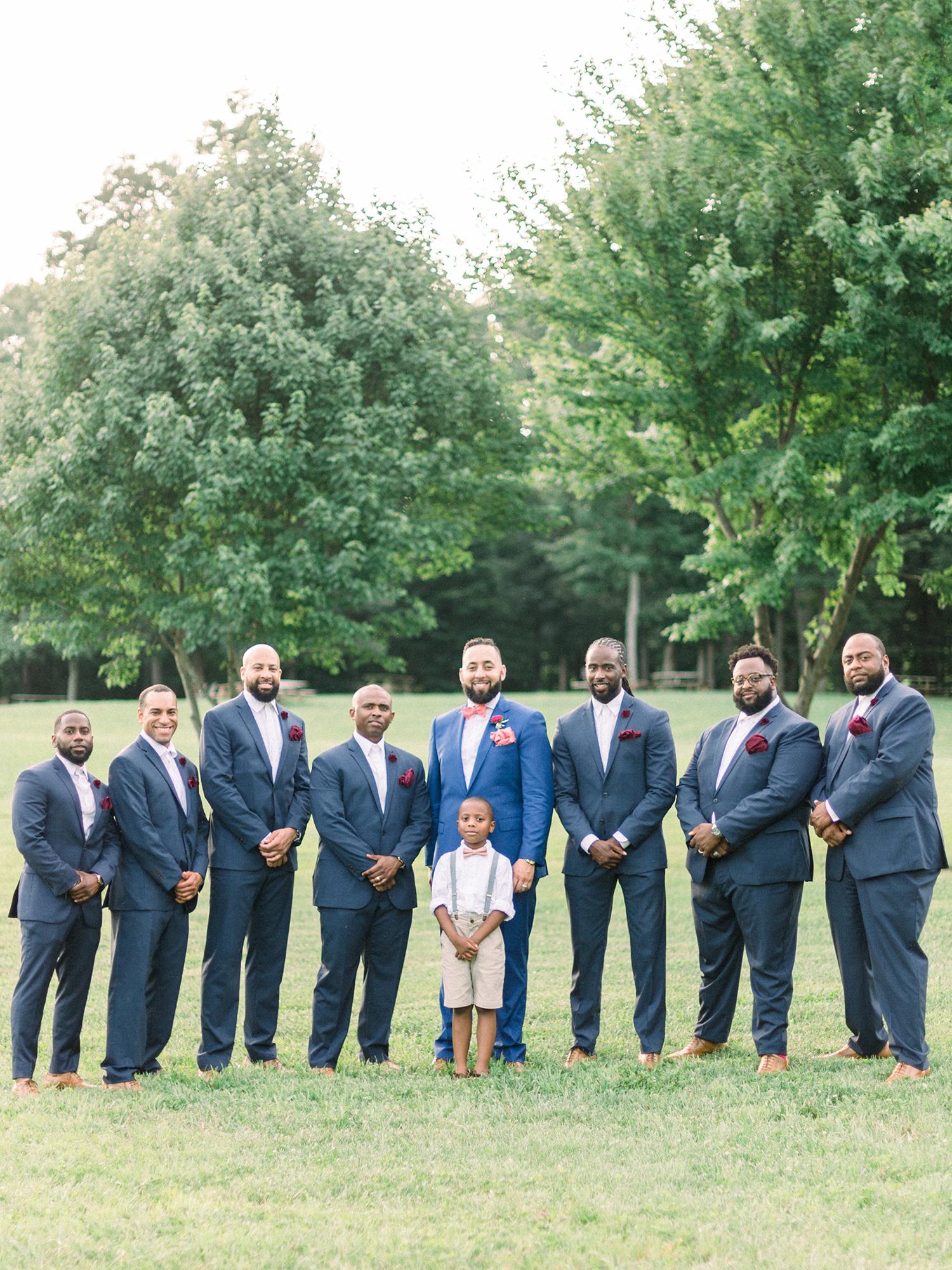 dawn rich wedding groomsmen with trees