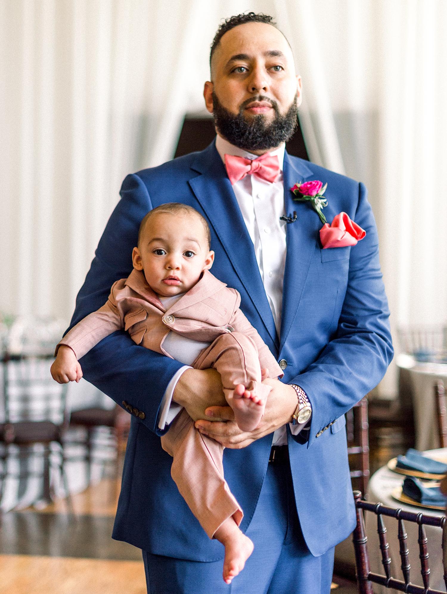 dawn rich wedding groom and son