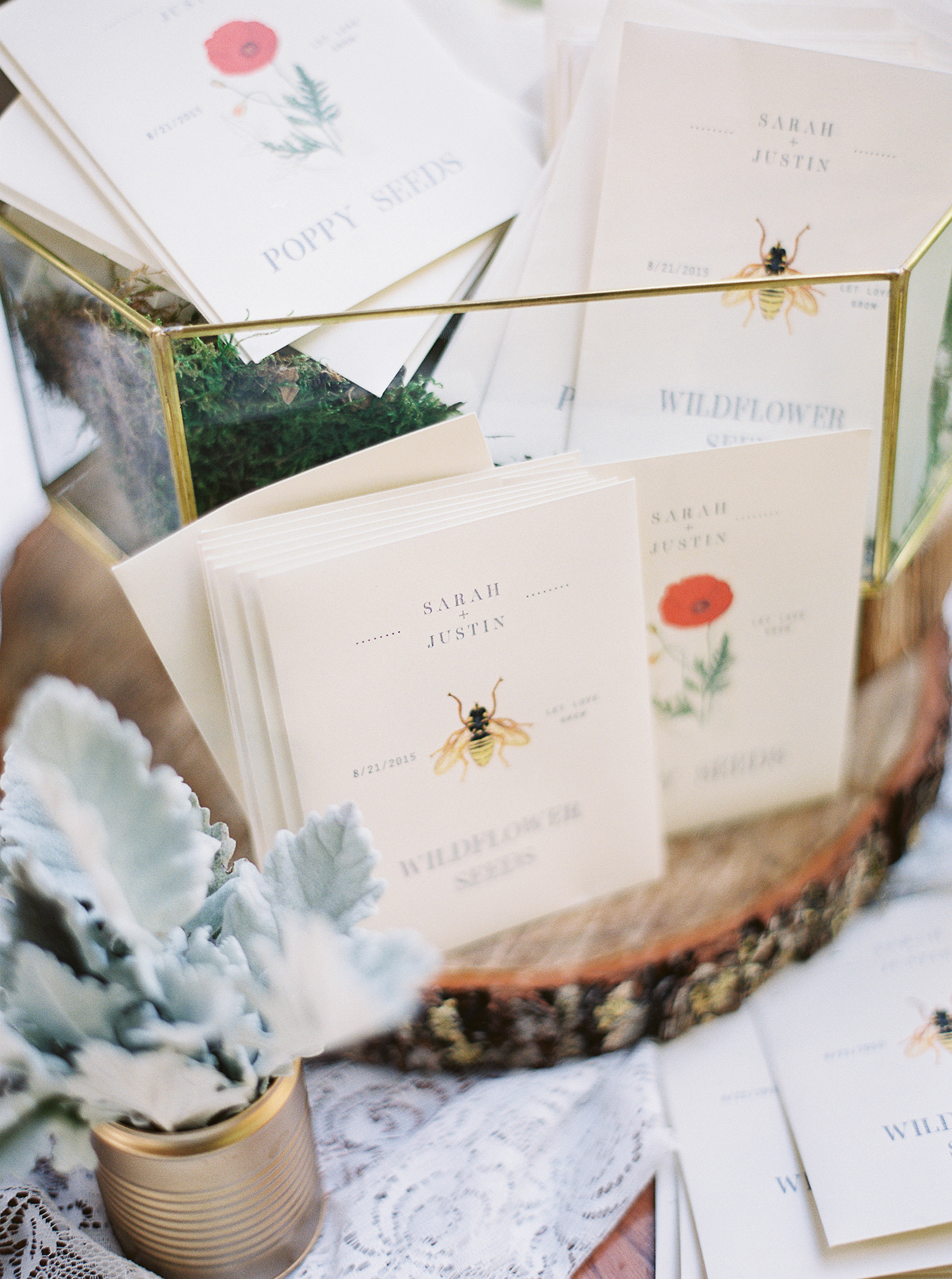 bee wedding ideas seed packet favors