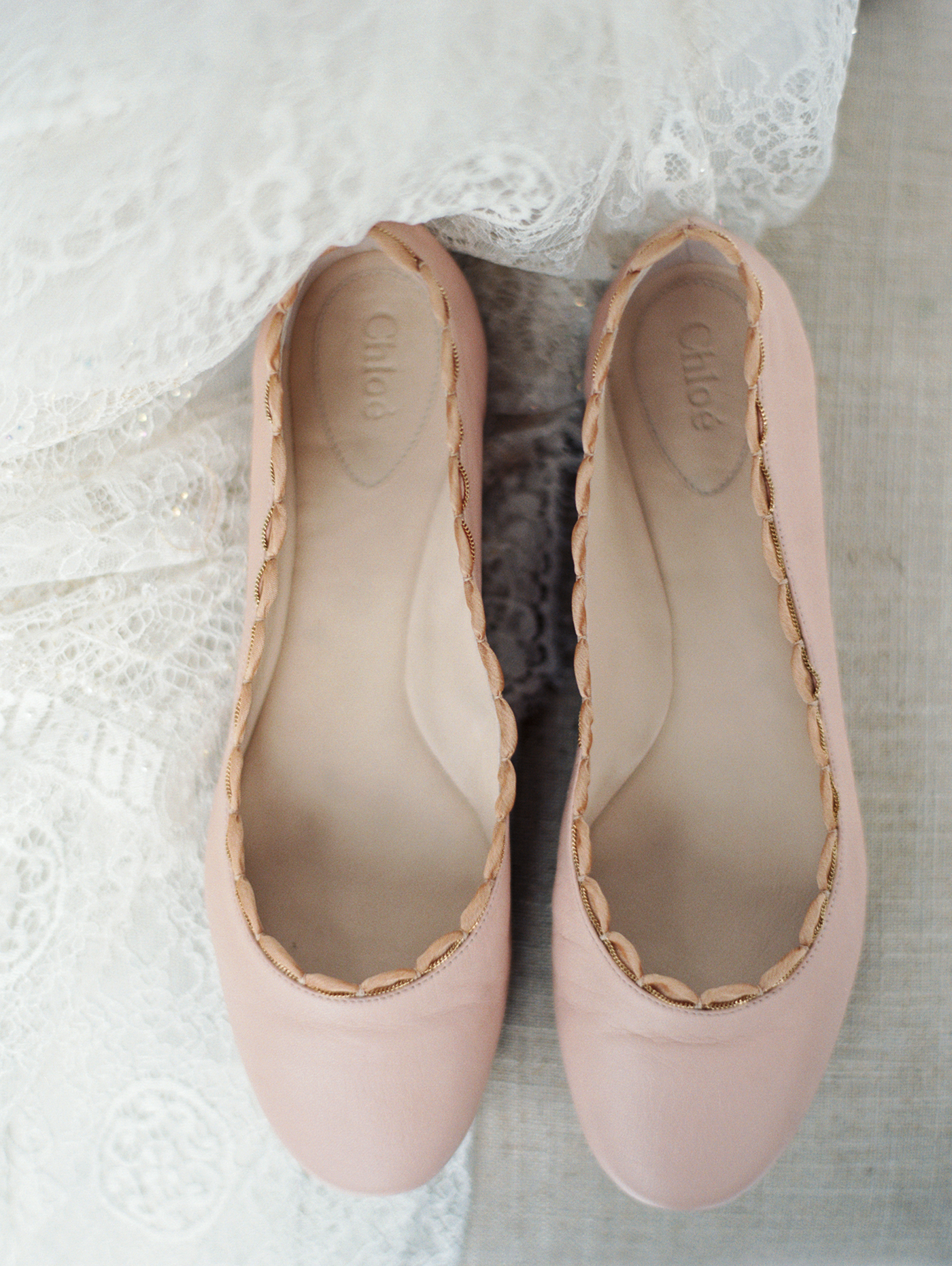scalloped wedding decor bride blush pink flats
