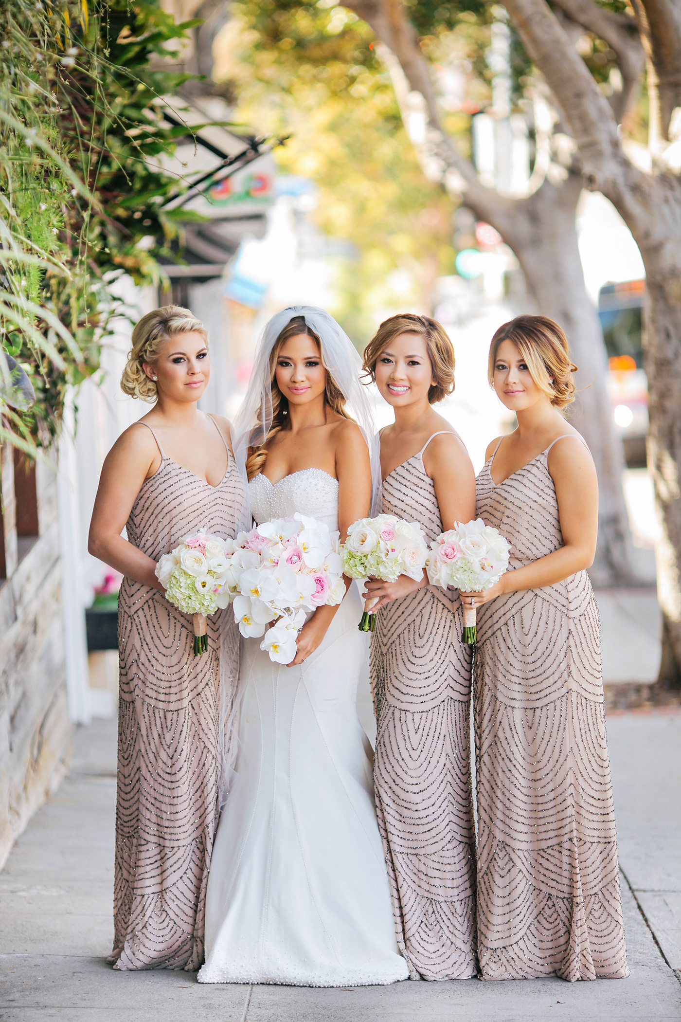 Scalloped Bridesmaids' Dresses