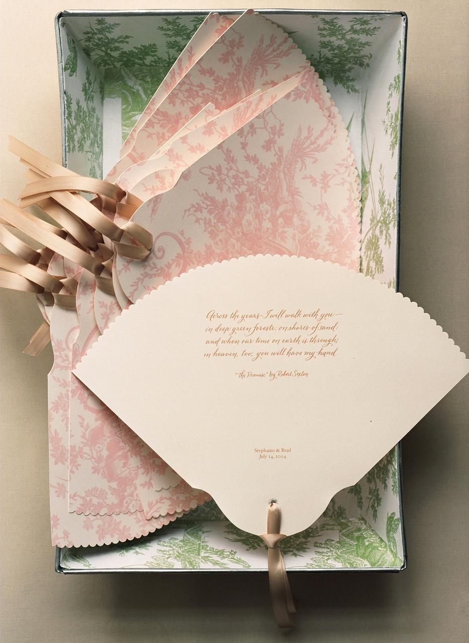 scalloped wedding decor fan stationary pink
