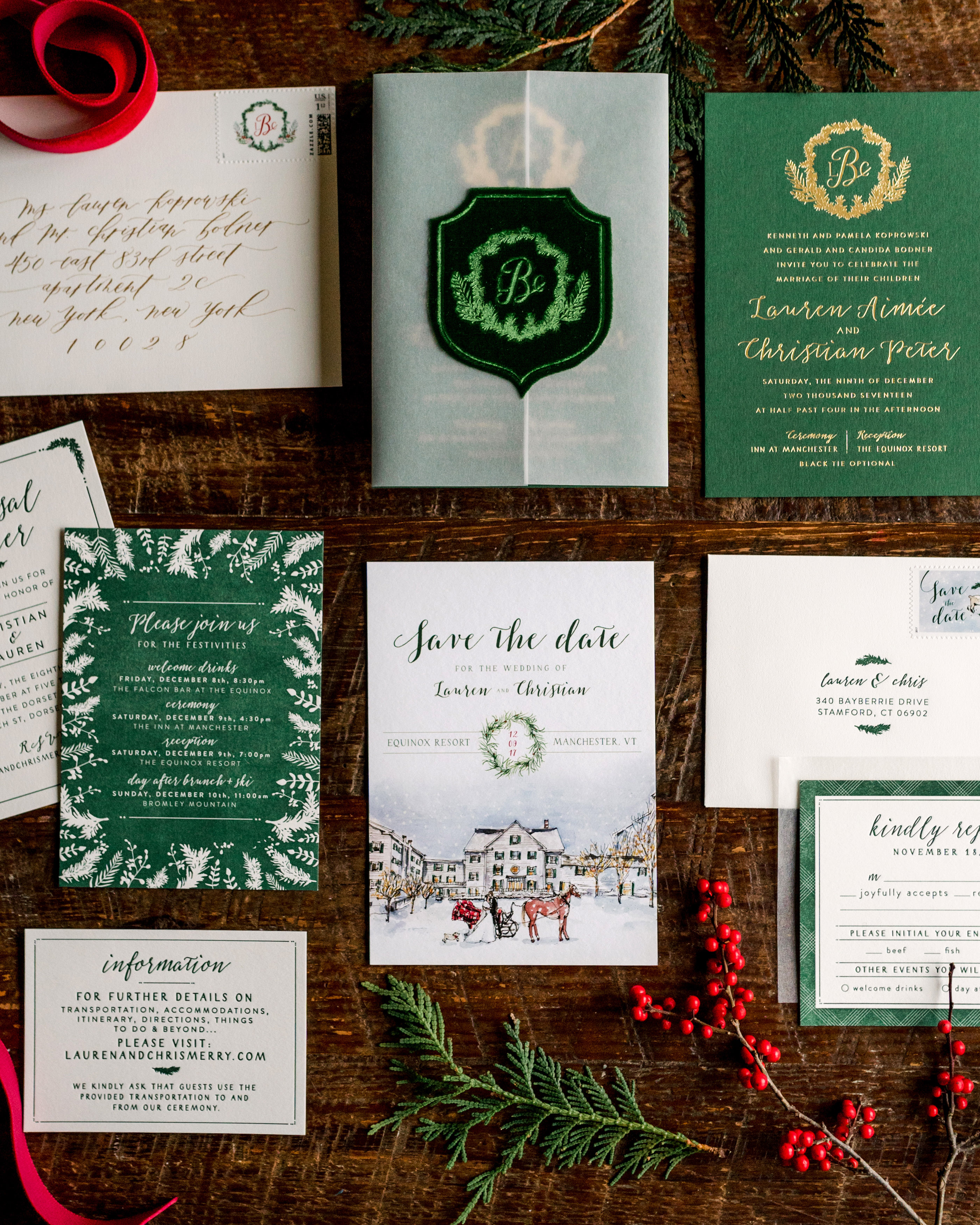 lauren christian christmas wedding stationery