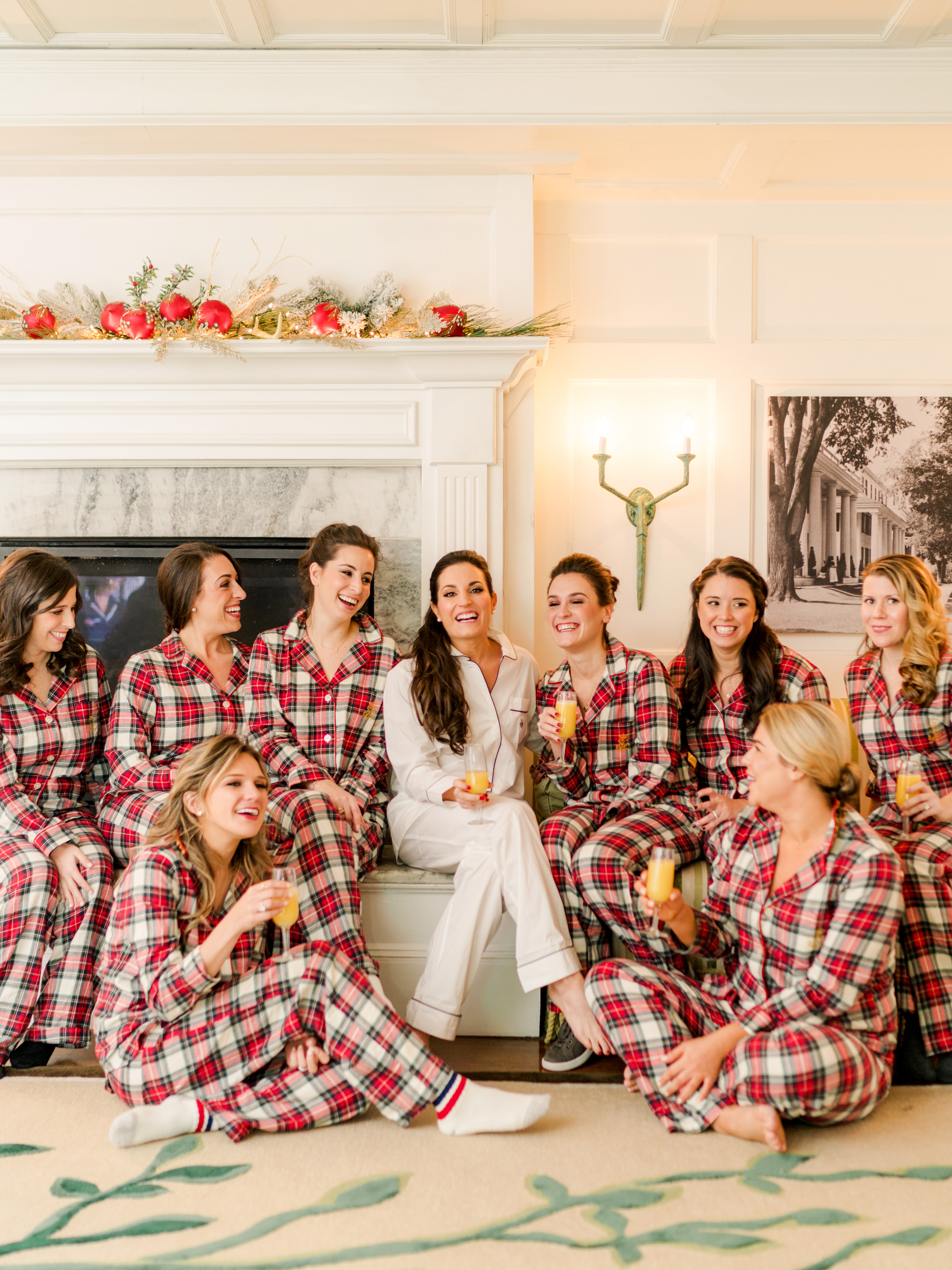 lauren christian christmas wedding plaid pajamas bride bridesmaids getting ready