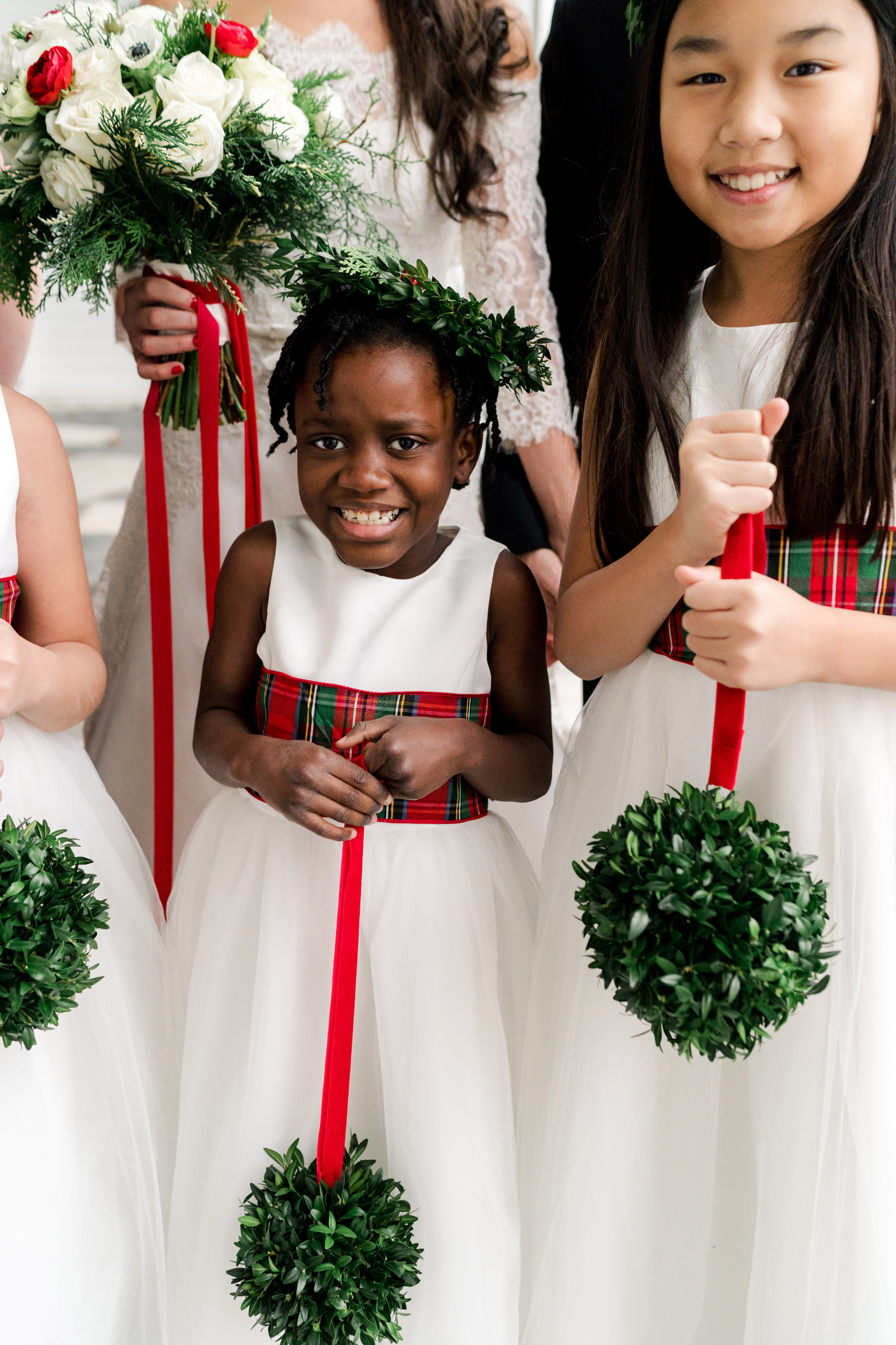 lauren christian christmas wedding couple flower girls